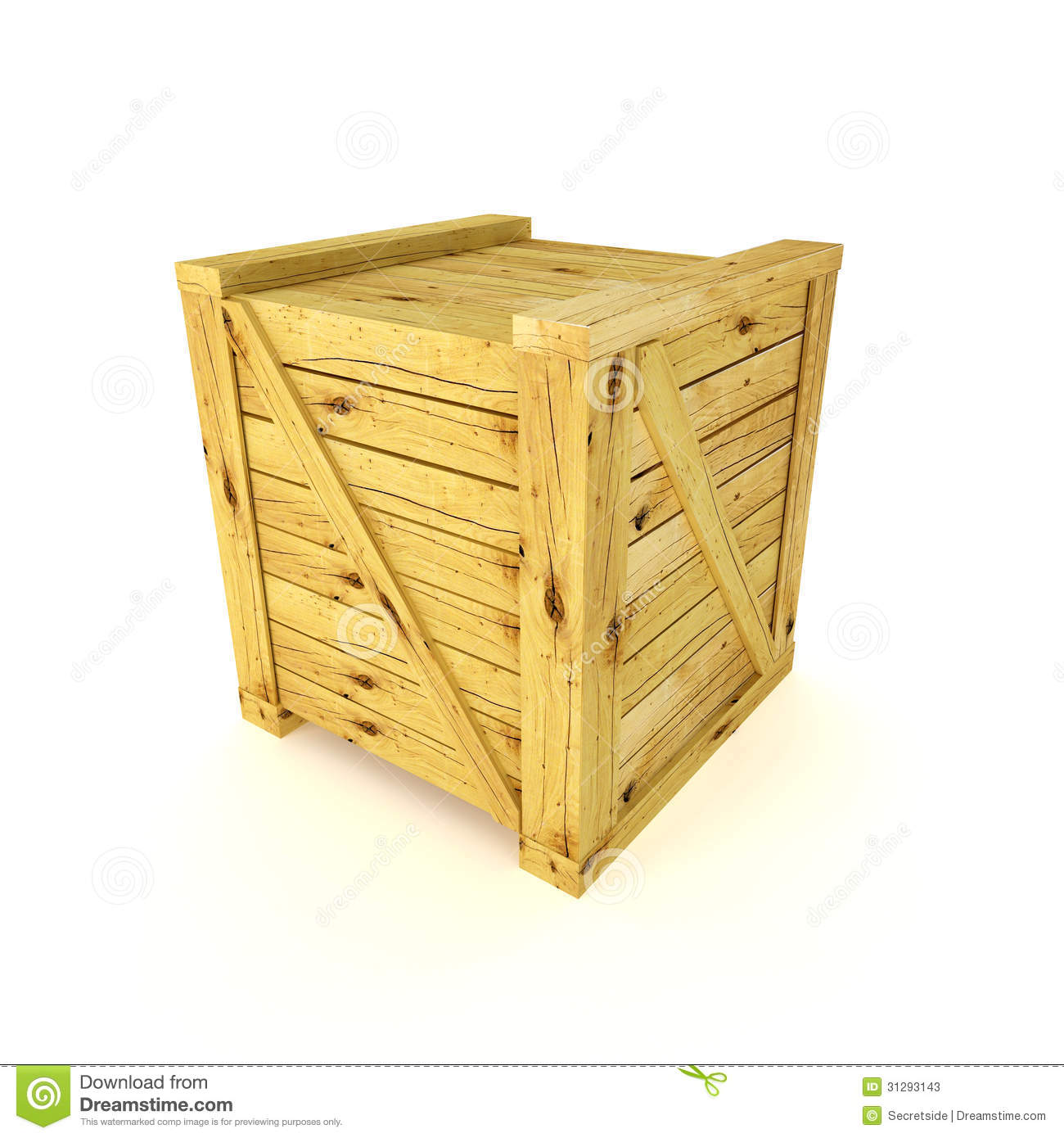 Wood crate or container on white background.