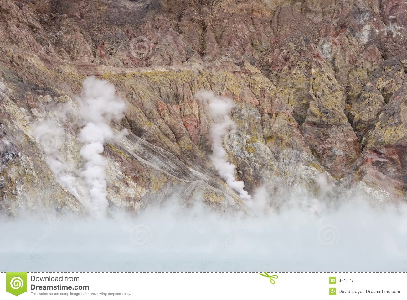 Download Crater lake and steam stock image. Image of erosion, volcano - 461977
