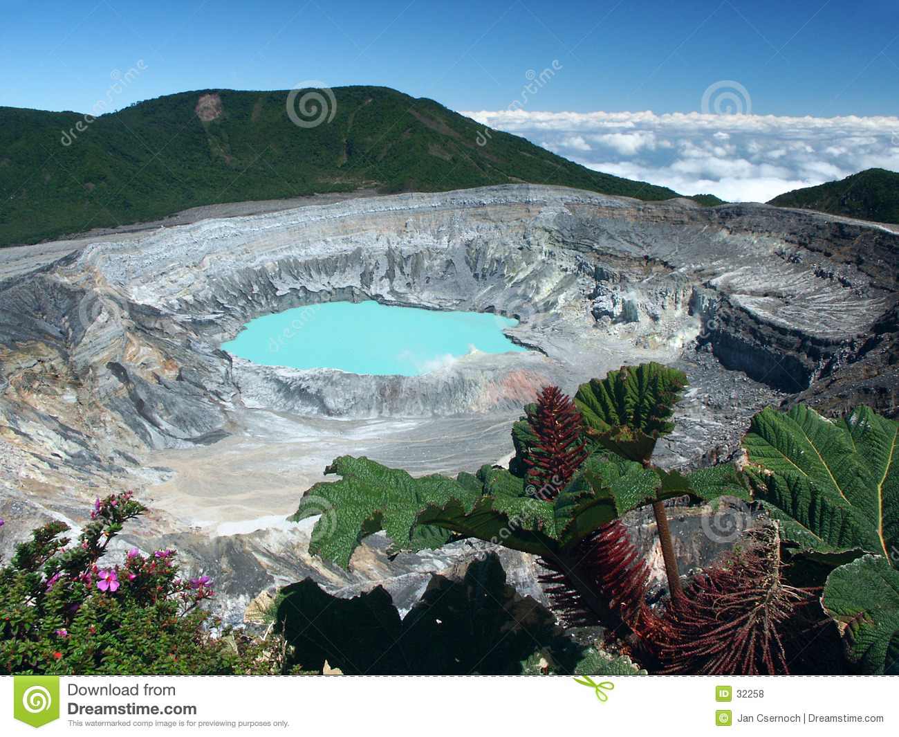 Crater and lake of Volcano Poas