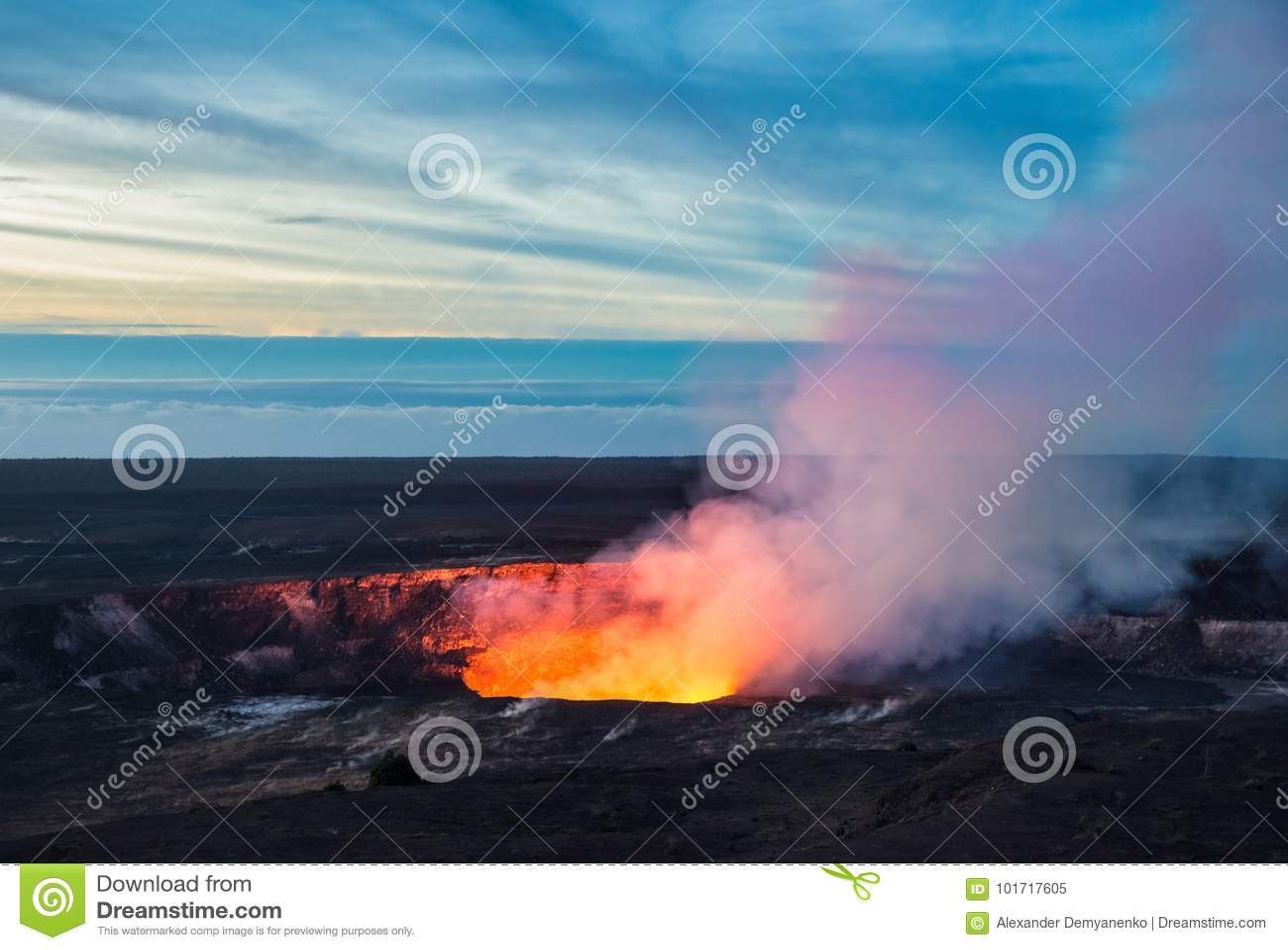 Cratera de Kilauea, parque nacional dos vulcões de Havaí, ilha grande, Havaí
