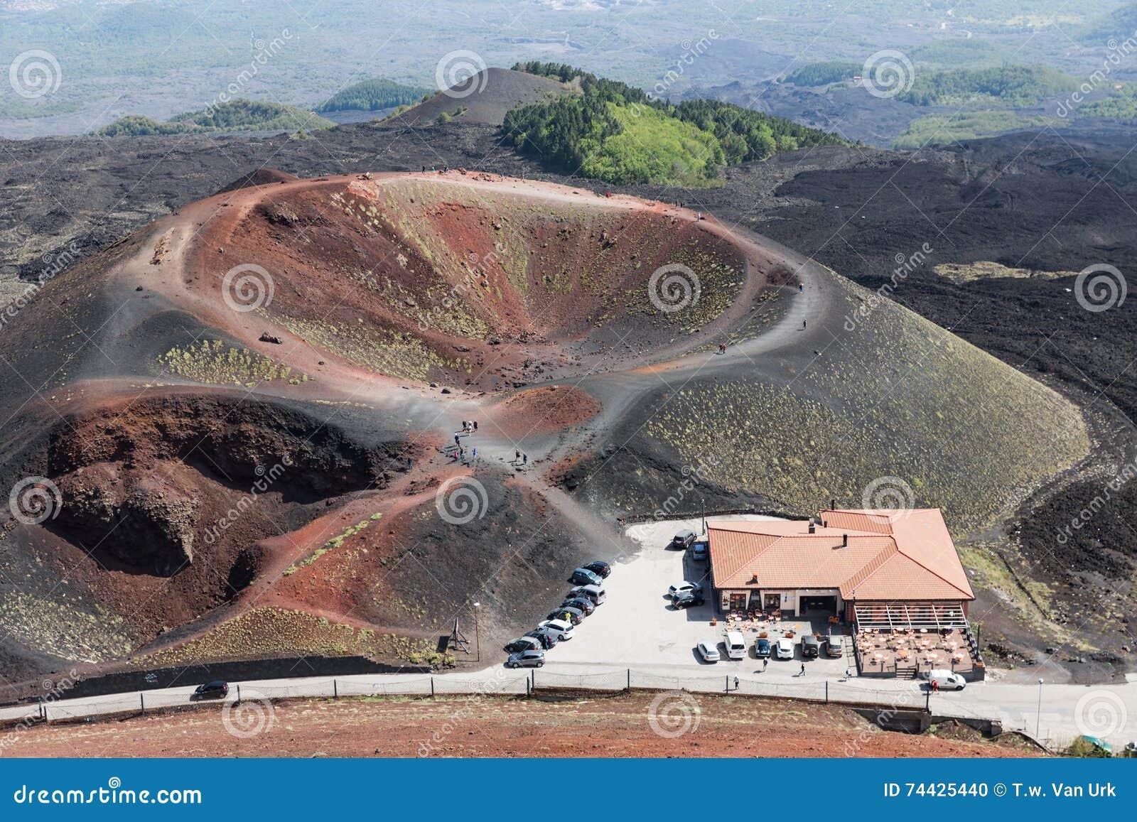 Cratera de Silvestri nas inclinações de Monte Etna na ilha Sicília, Itália