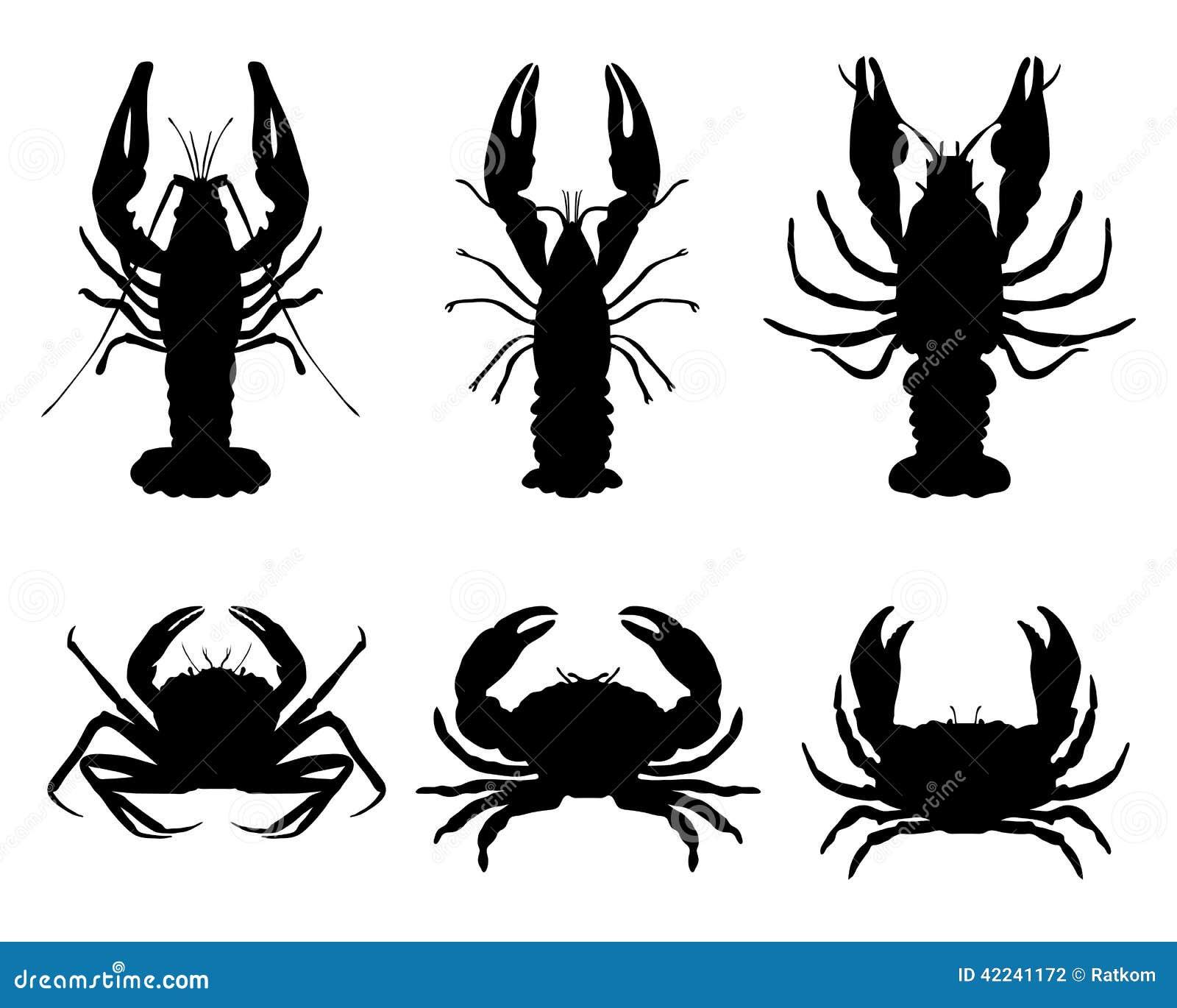 Crawfish and crab stock illustration  Illustration of