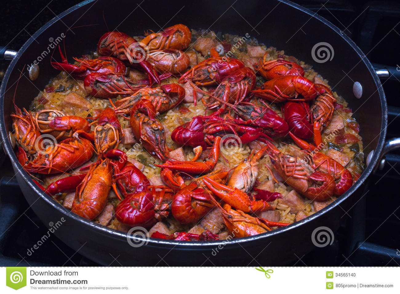 beautiful skillet full of crawfish jambalaya. This dish was created ...