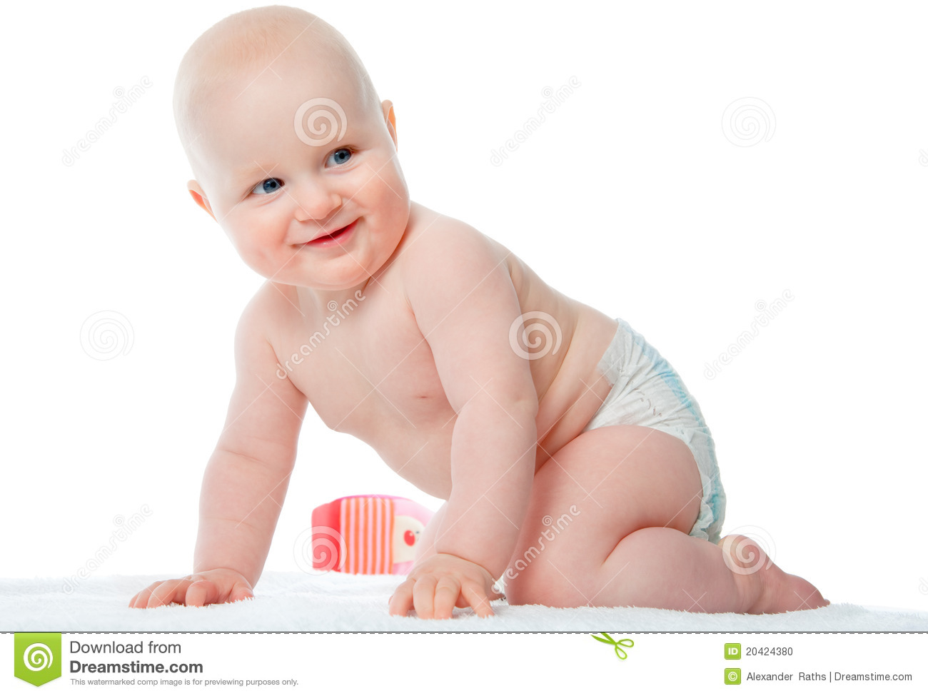 Picture of crawling baby in diaper over white.