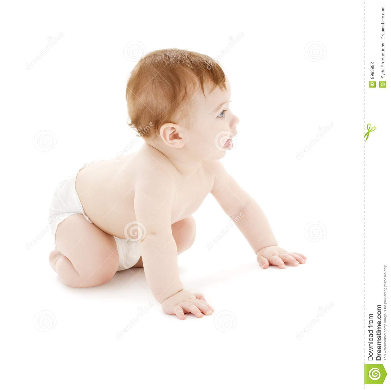 Crawling Baby Boy In Diaper Stock Photo - Image of life ...