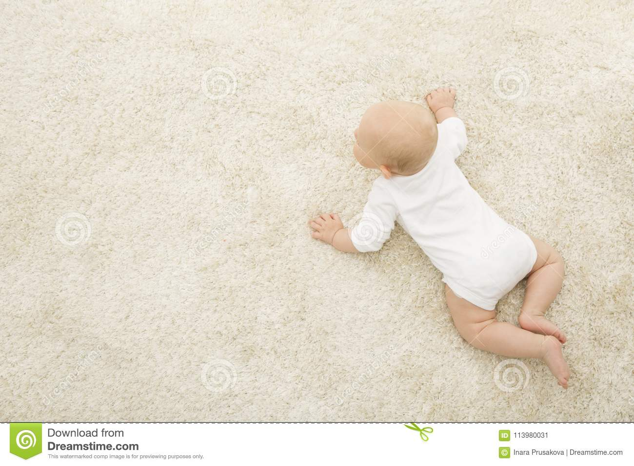 Crawling Baby on Carpet Background, Infant Kid Top View, Newborn