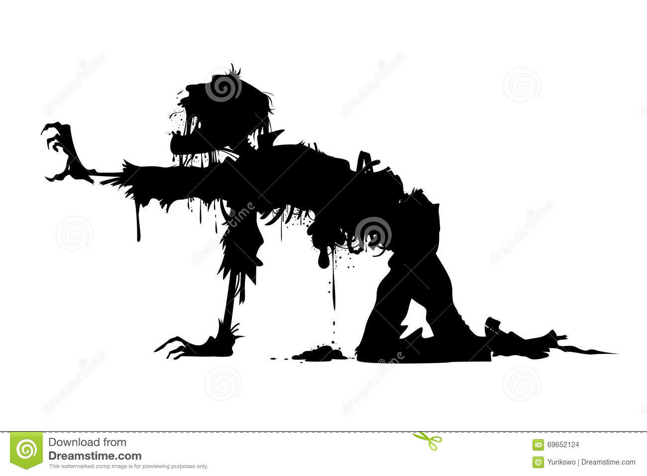 Crawling Rotten Zombie Silhouette Stock Vector - Image: 69652124