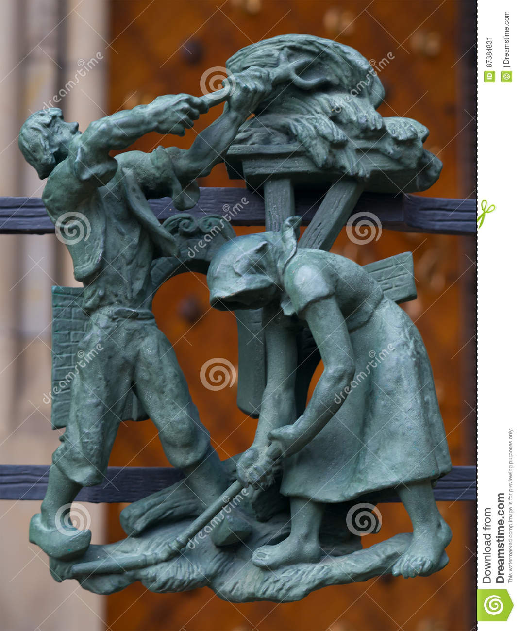 Crayfish-pagan symbols of the zodiac on the Golden Gate St. Vitus Cathedral in Prague