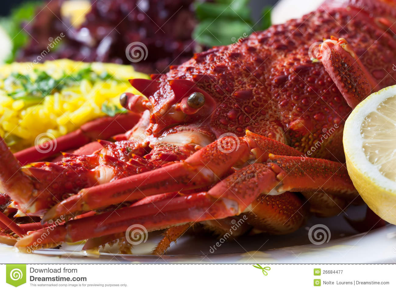 Crayfish served with rise and lettuce