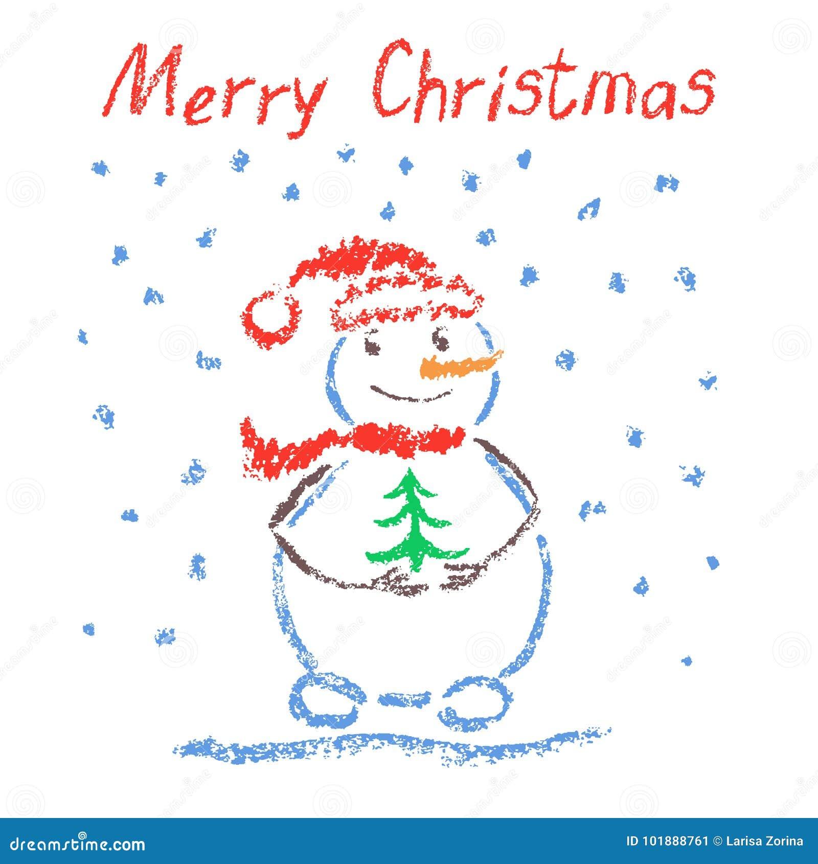 Crayon любит ` s ребенка рисуя с Рождеством Христовым смешной усмехаясь снеговик с литерностью, рождественской елкой и падая снеж