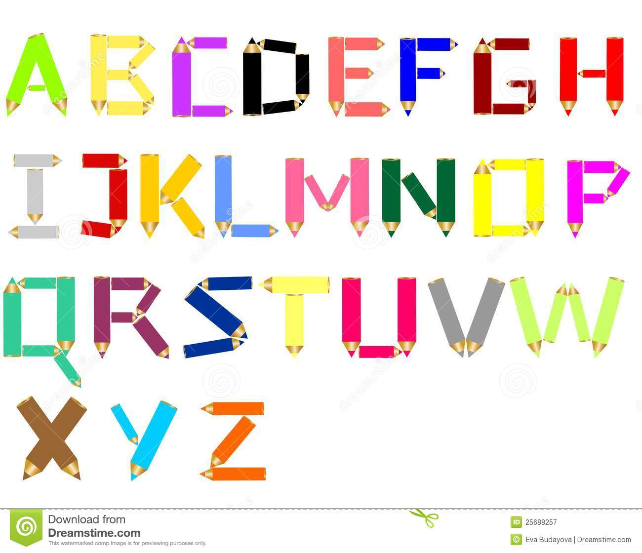 Crayon alphabet stock vector illustration of colorful 25688257 crayon alphabet voltagebd Images