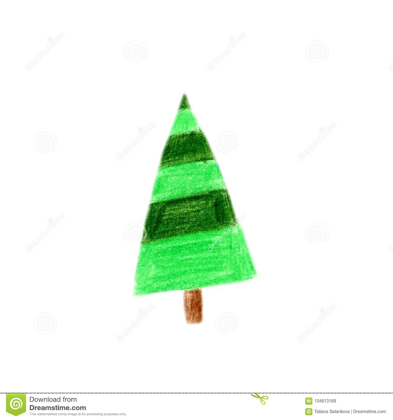 Crayon Child S Drawing Of Merry Christmas Tree Color Pencils Hand