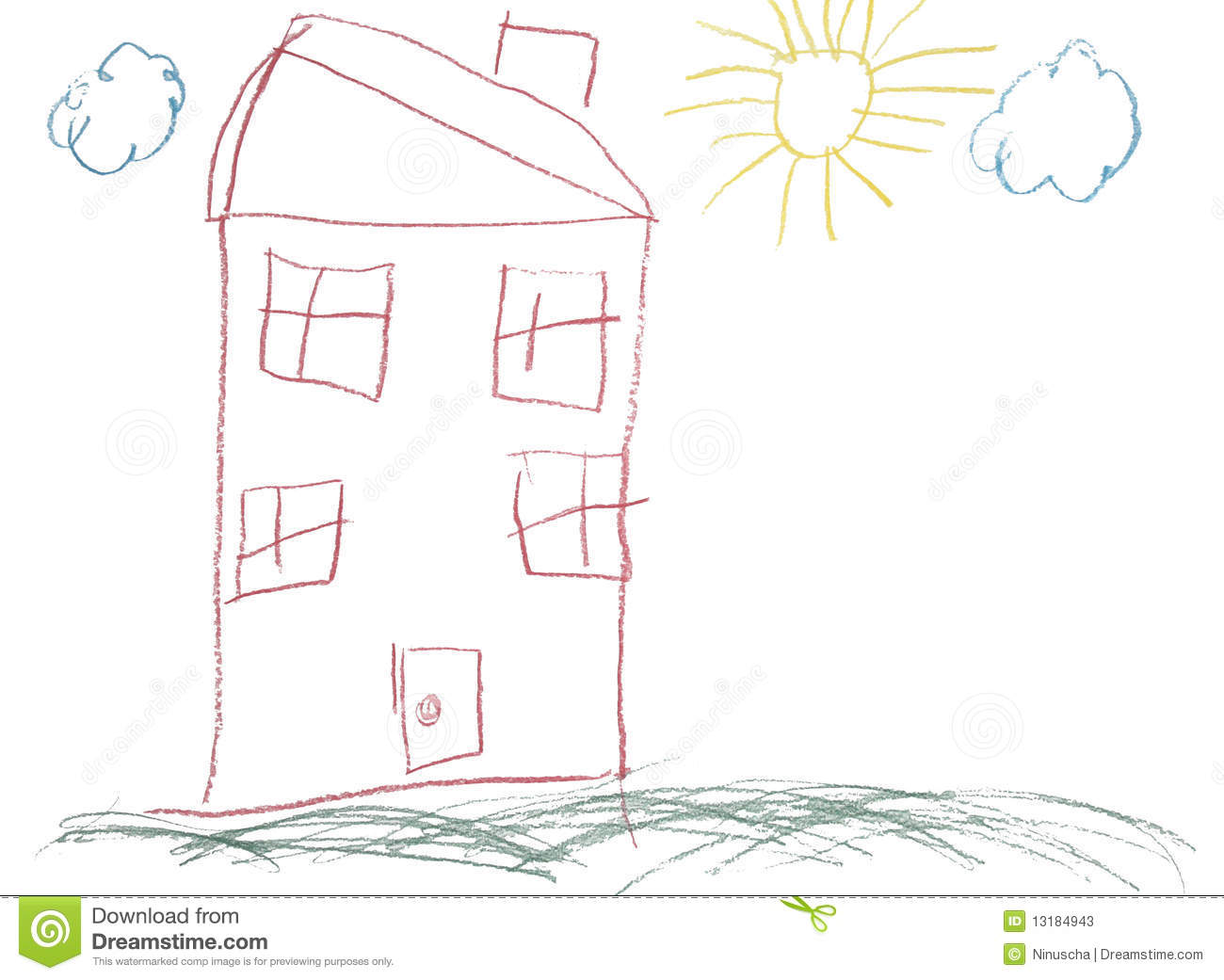 Crayon Childlike Hand Drawn Picture Of House Stock Photos - Image ...