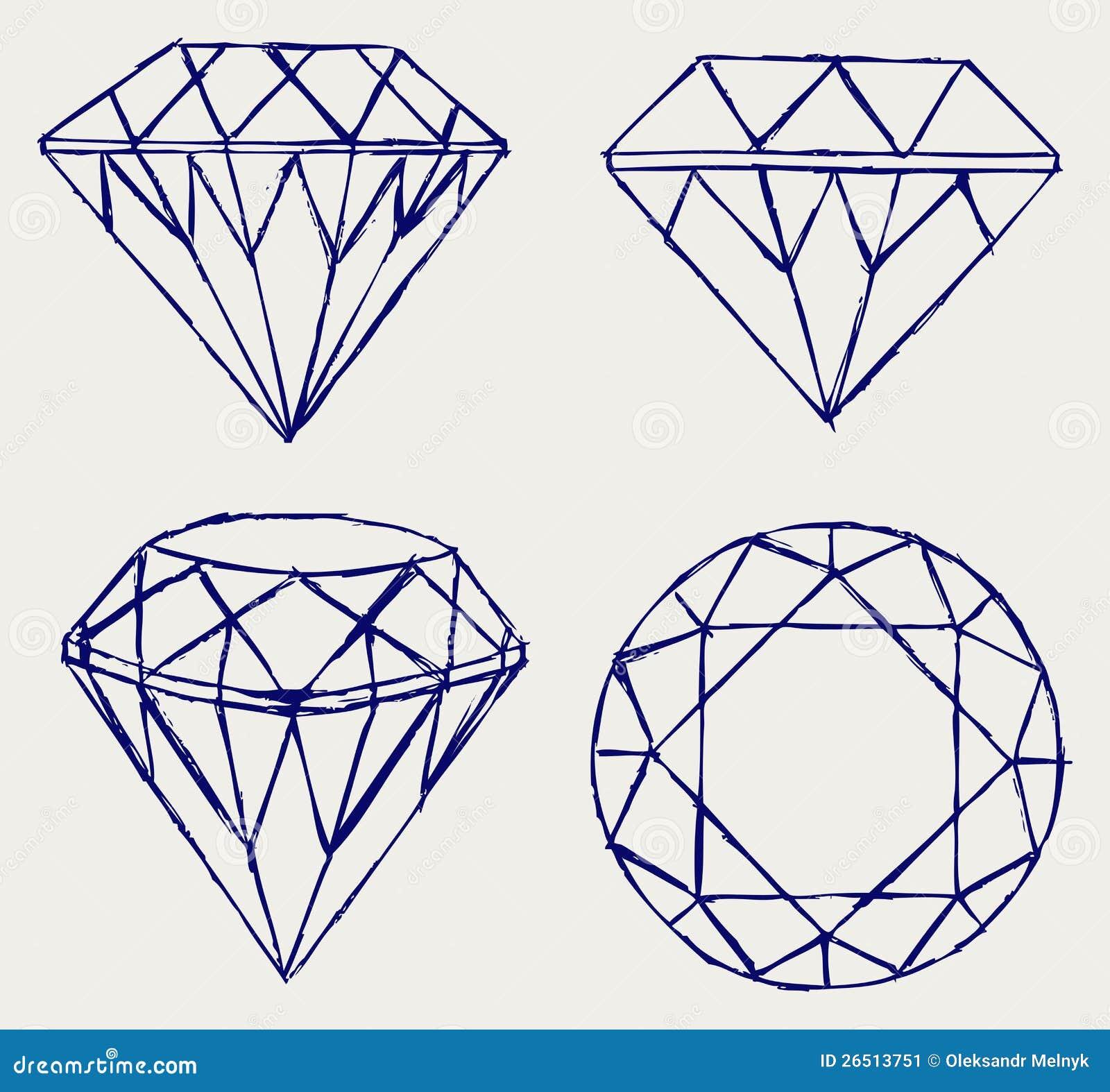 Crayon de croquis diamant illustration de vecteur image - Diamant dessin ...