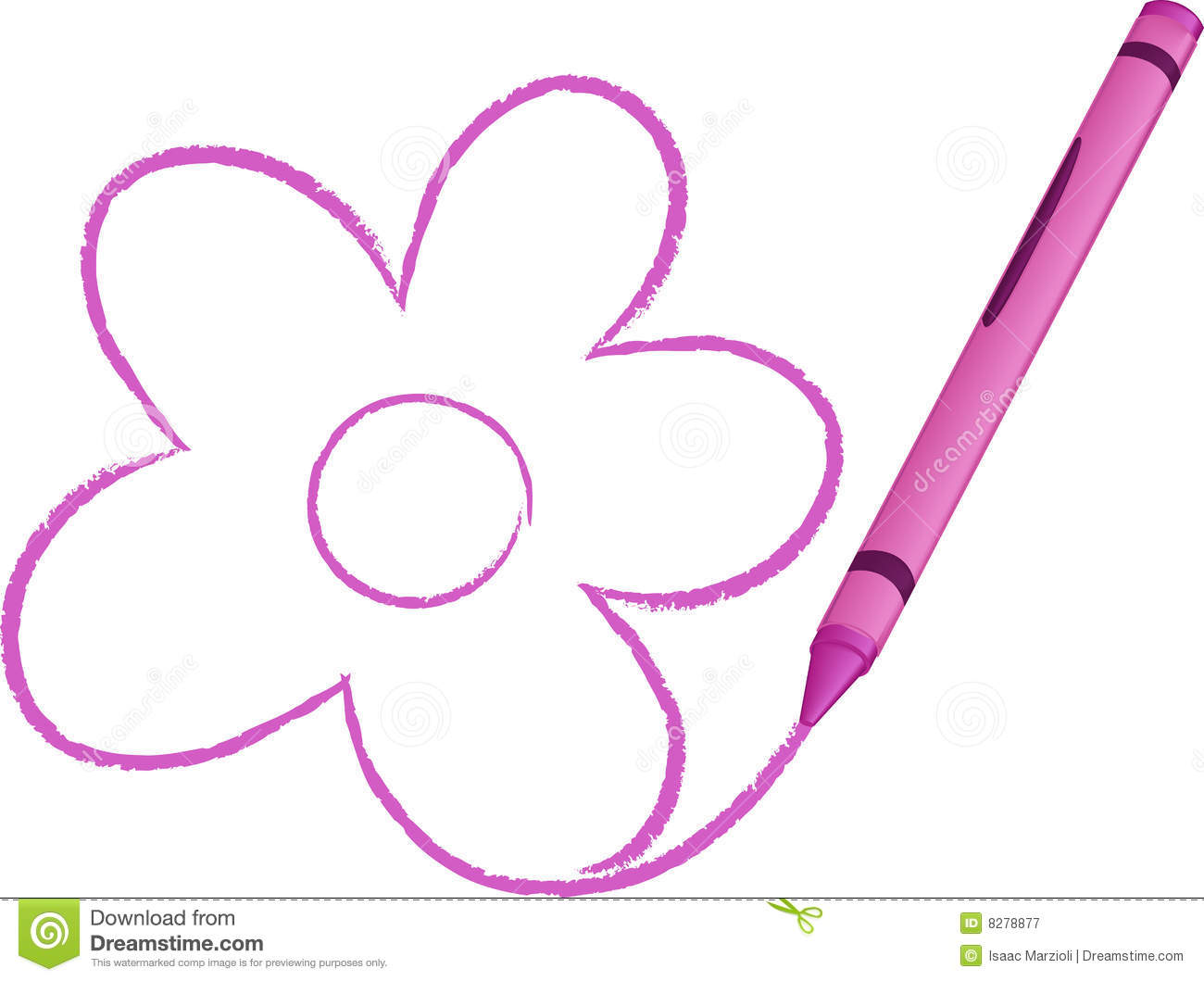 Crayon Drawn Flower Vector Illustration Royalty Free Stock