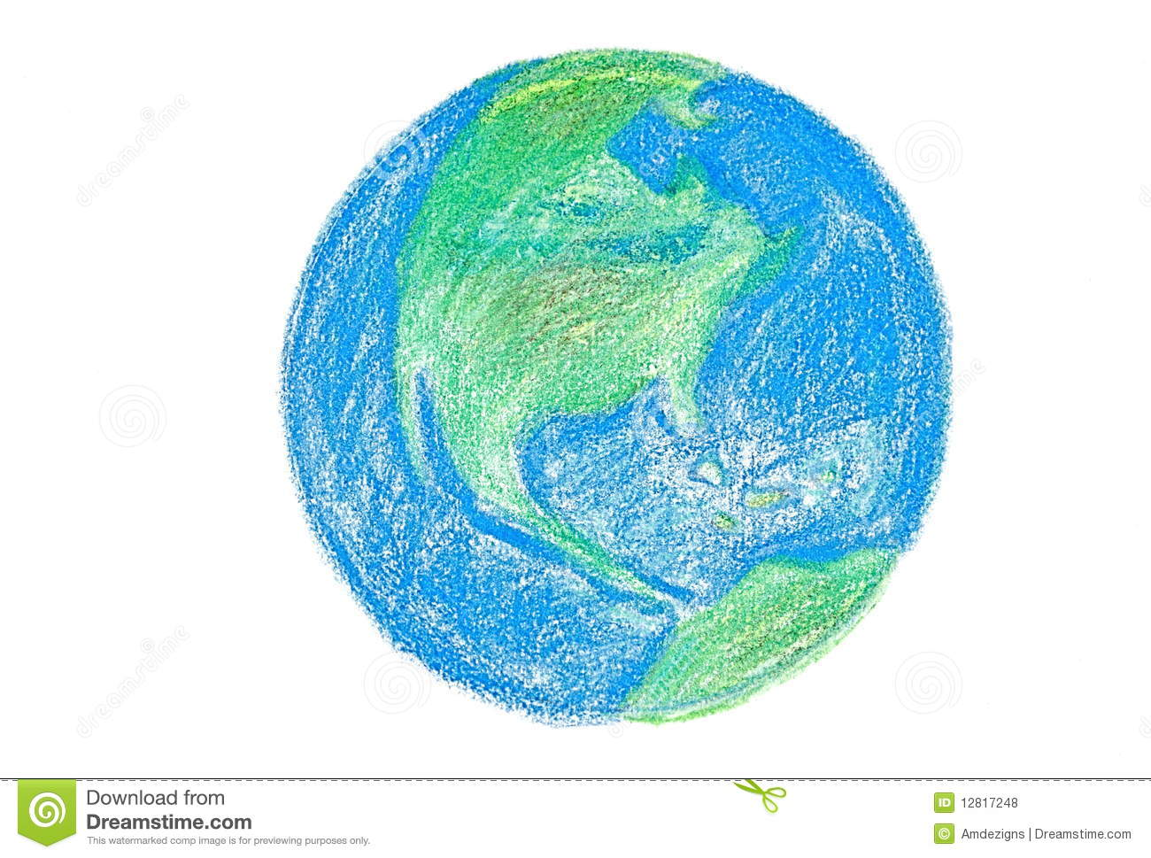 Crayon earth royalty free stock photos image 12817248 for Easy to draw earth