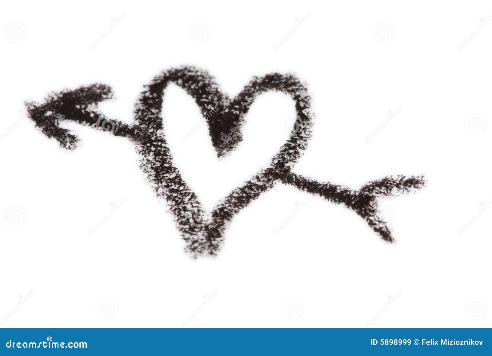 crayon heart with arrow stock image image of sketch broken 5898999