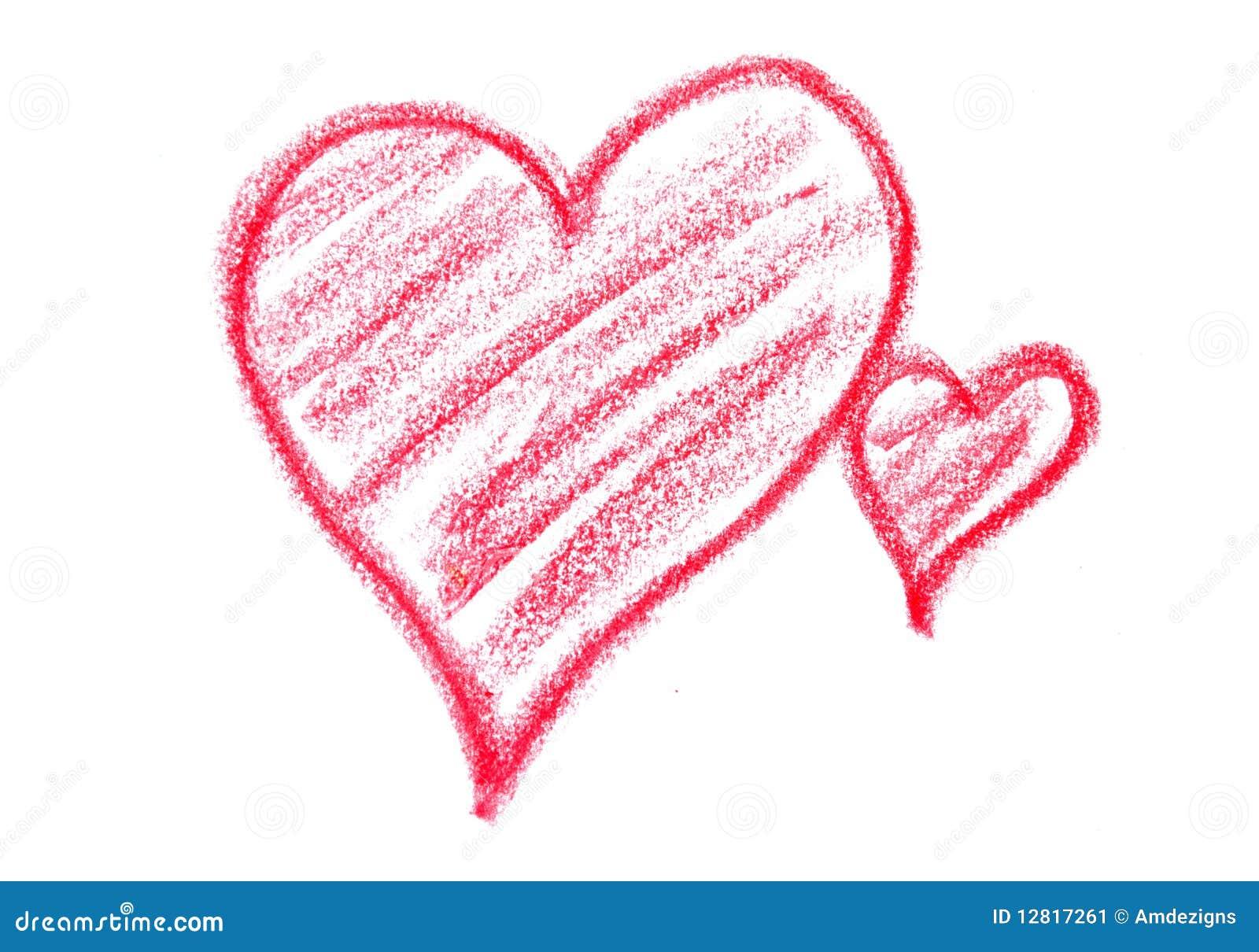 Crayon Hearts Stock Image Image 12817261