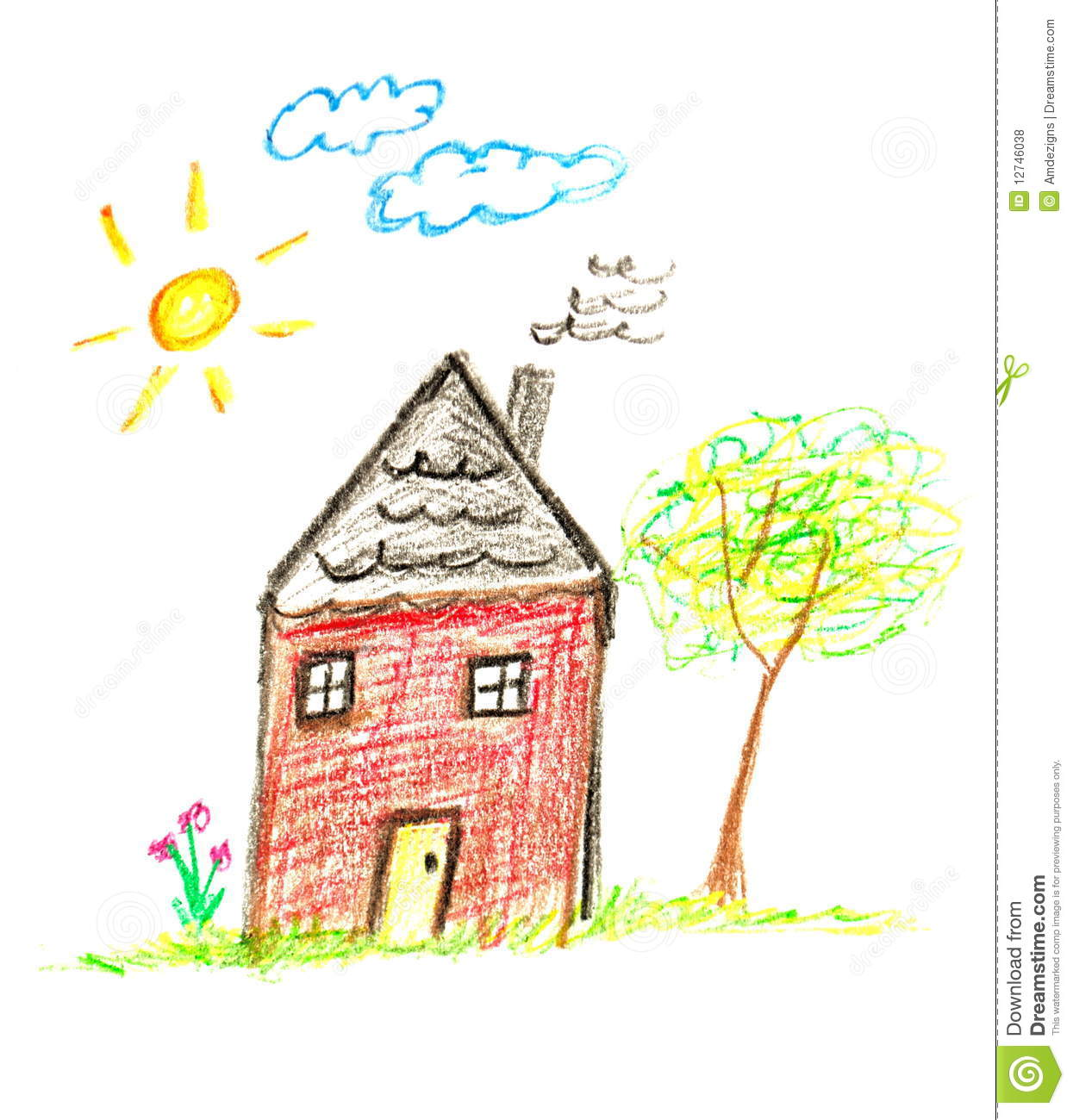 Crayon house stock photo image of kids house crayon 12746038 - Houses for families withchild ...