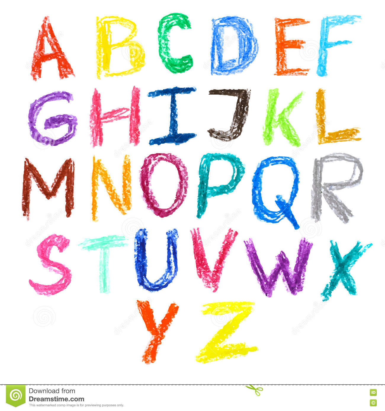 Cute Letter Fonts For Kids. Bright Alphabet Children Cute Animals