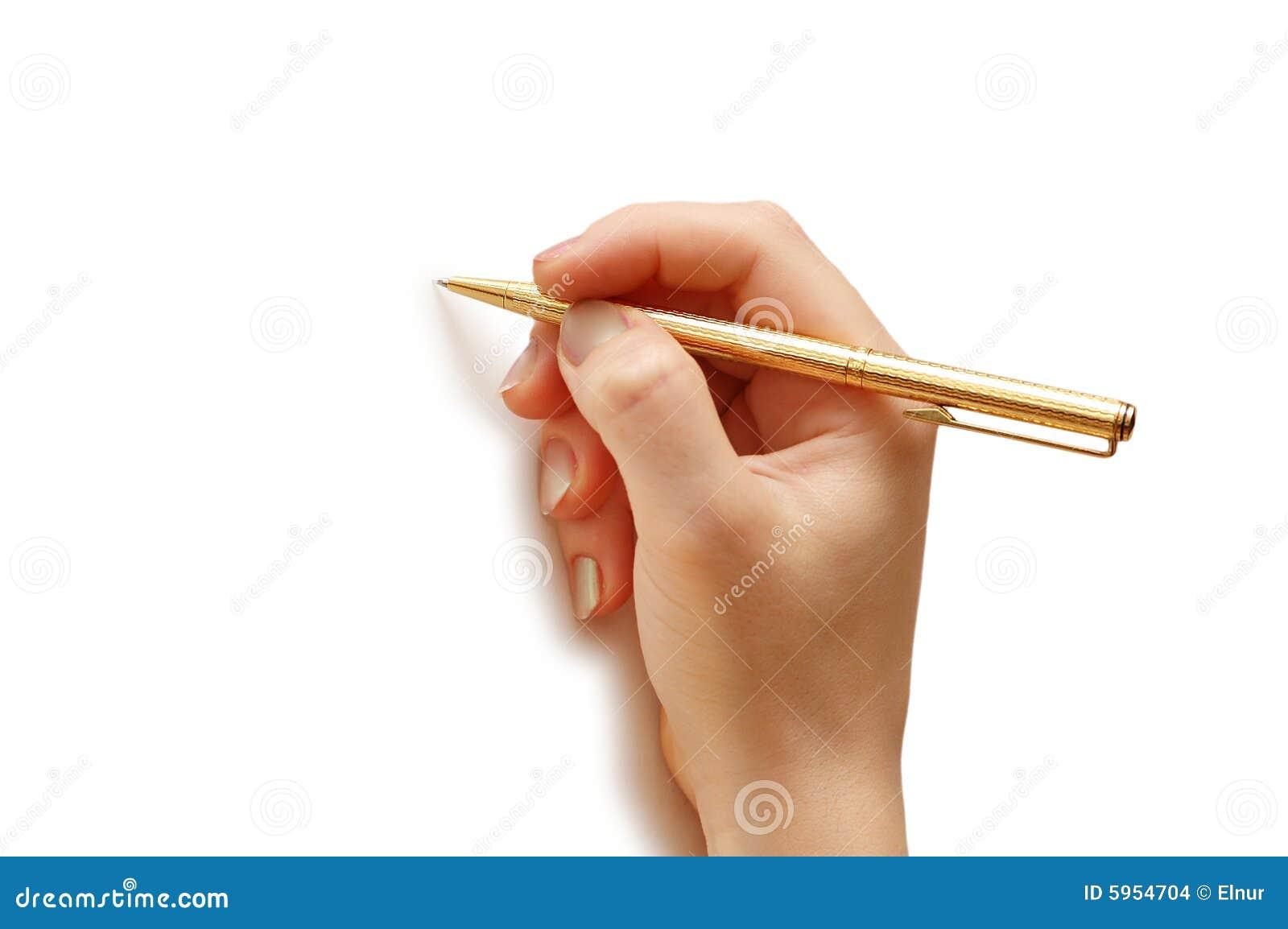 Crayon lecteur de fixation de main d isolement sur le fond blanc