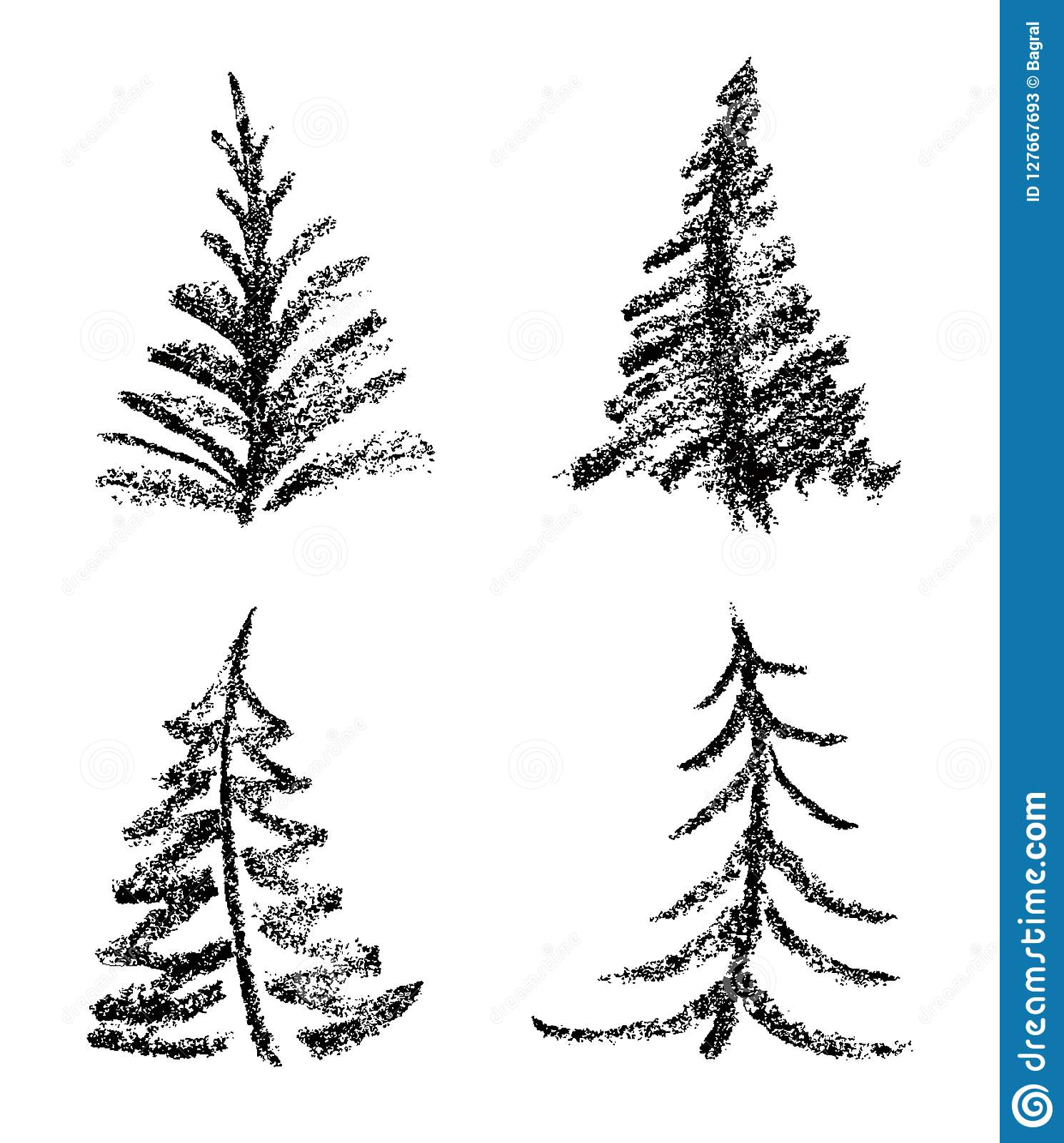 drawing style of merry christmas tree