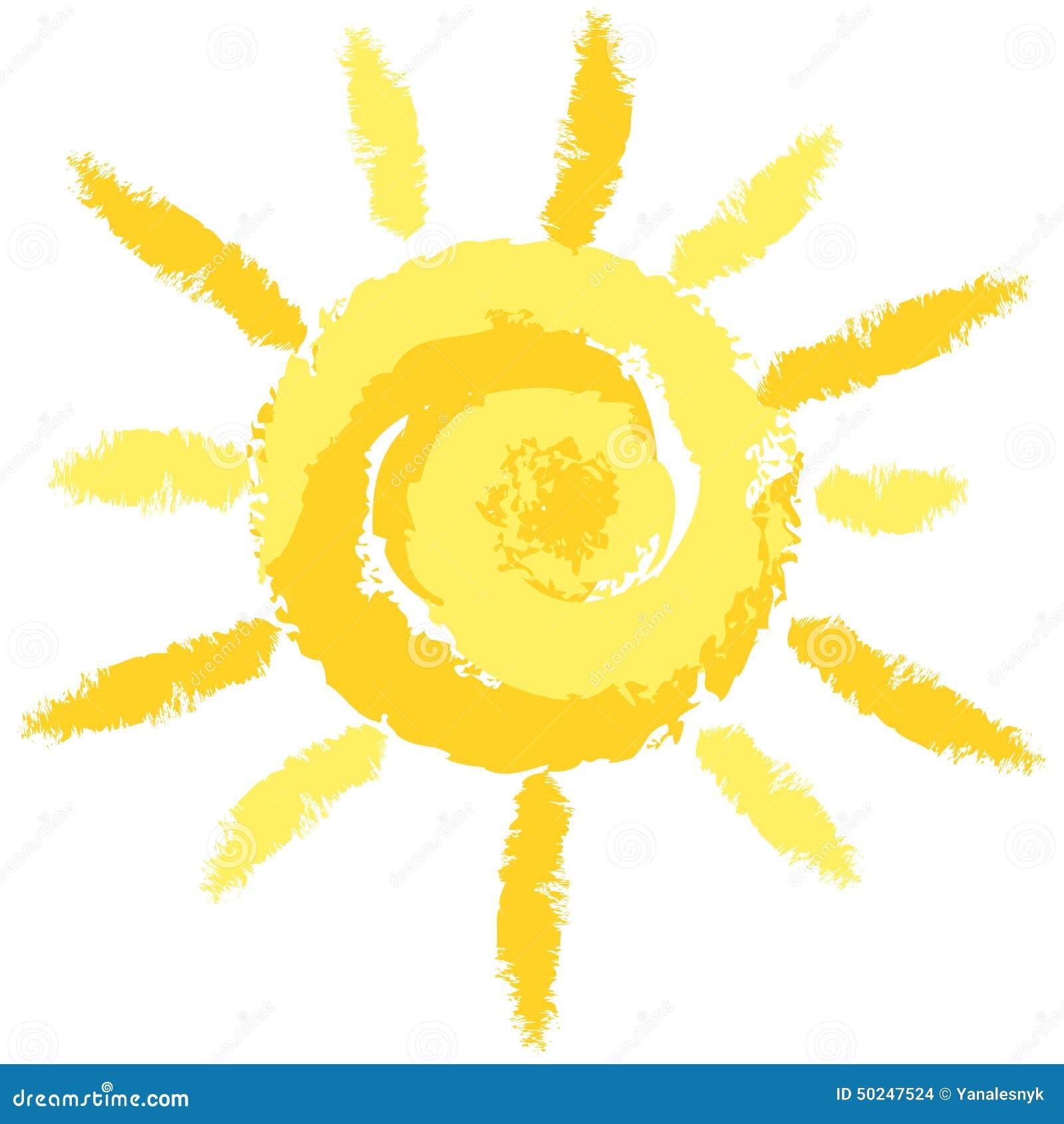 Crayon mignon d isolement Sun, image de vecteur