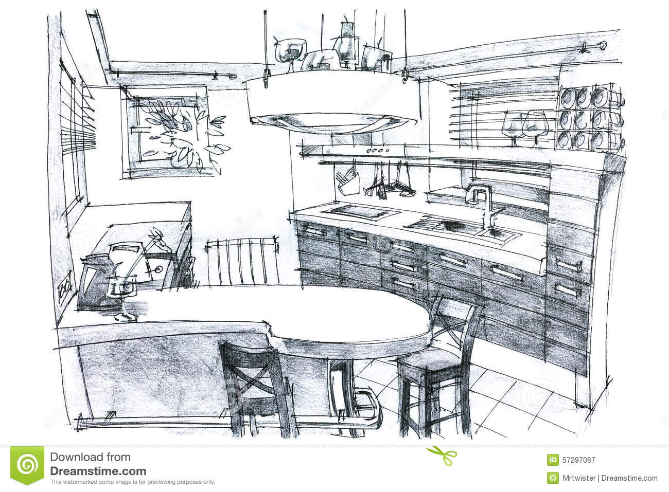 Crayon Painting Illustration Of A Kitchen Stock