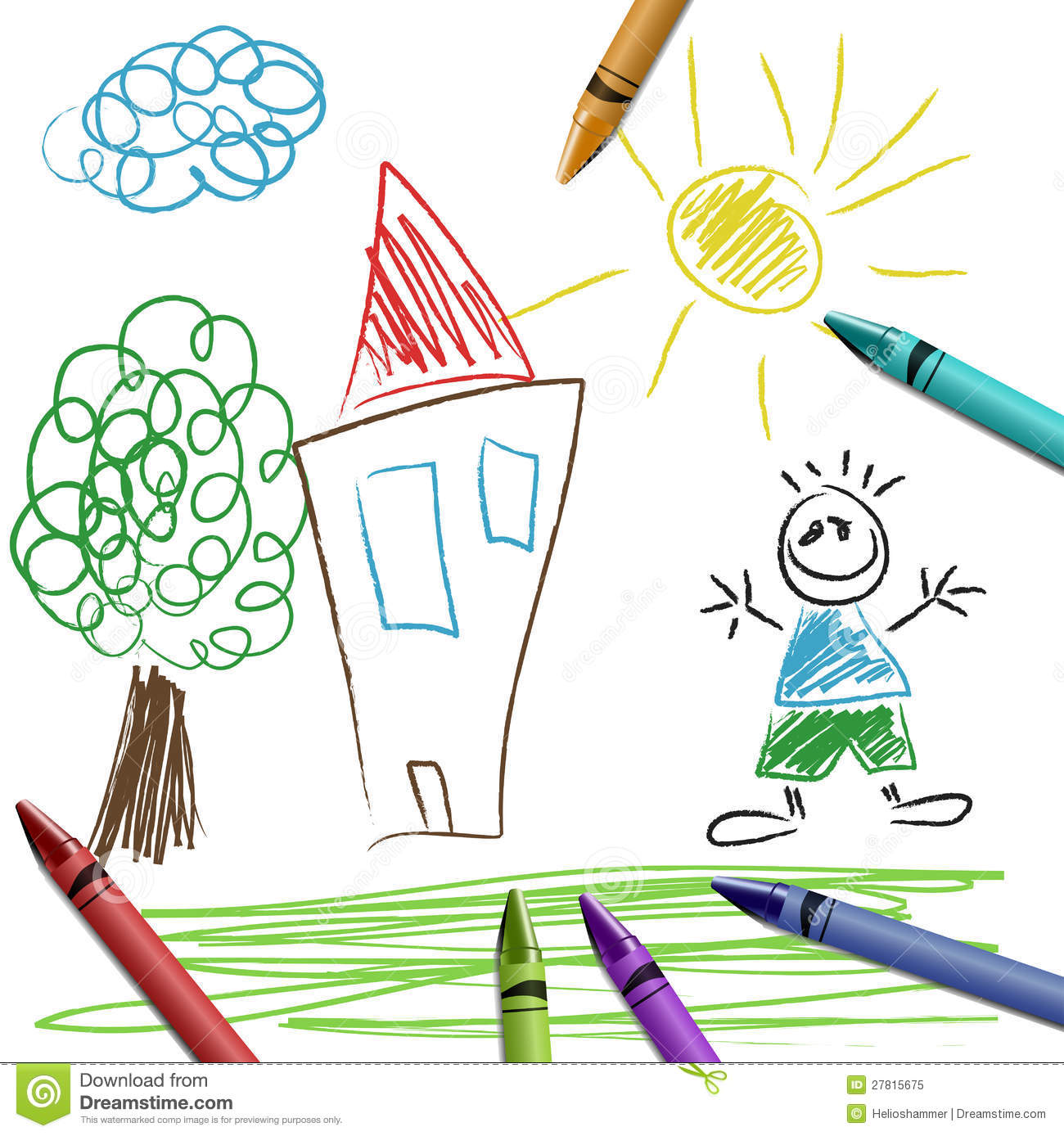 crayon set with kid drawing - Kid Drawing Picture