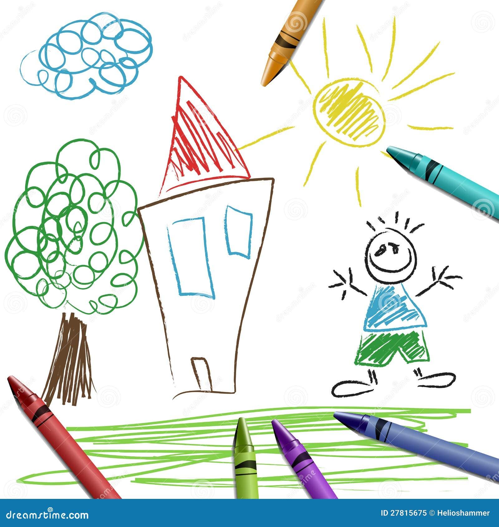 crayon set with kid drawing royalty free stock photo