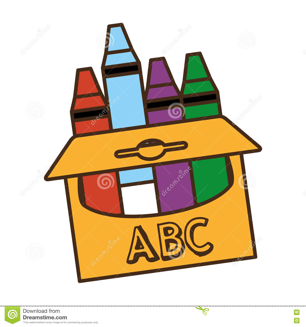 Crayons box isolated icon stock vector. Illustration of template ...