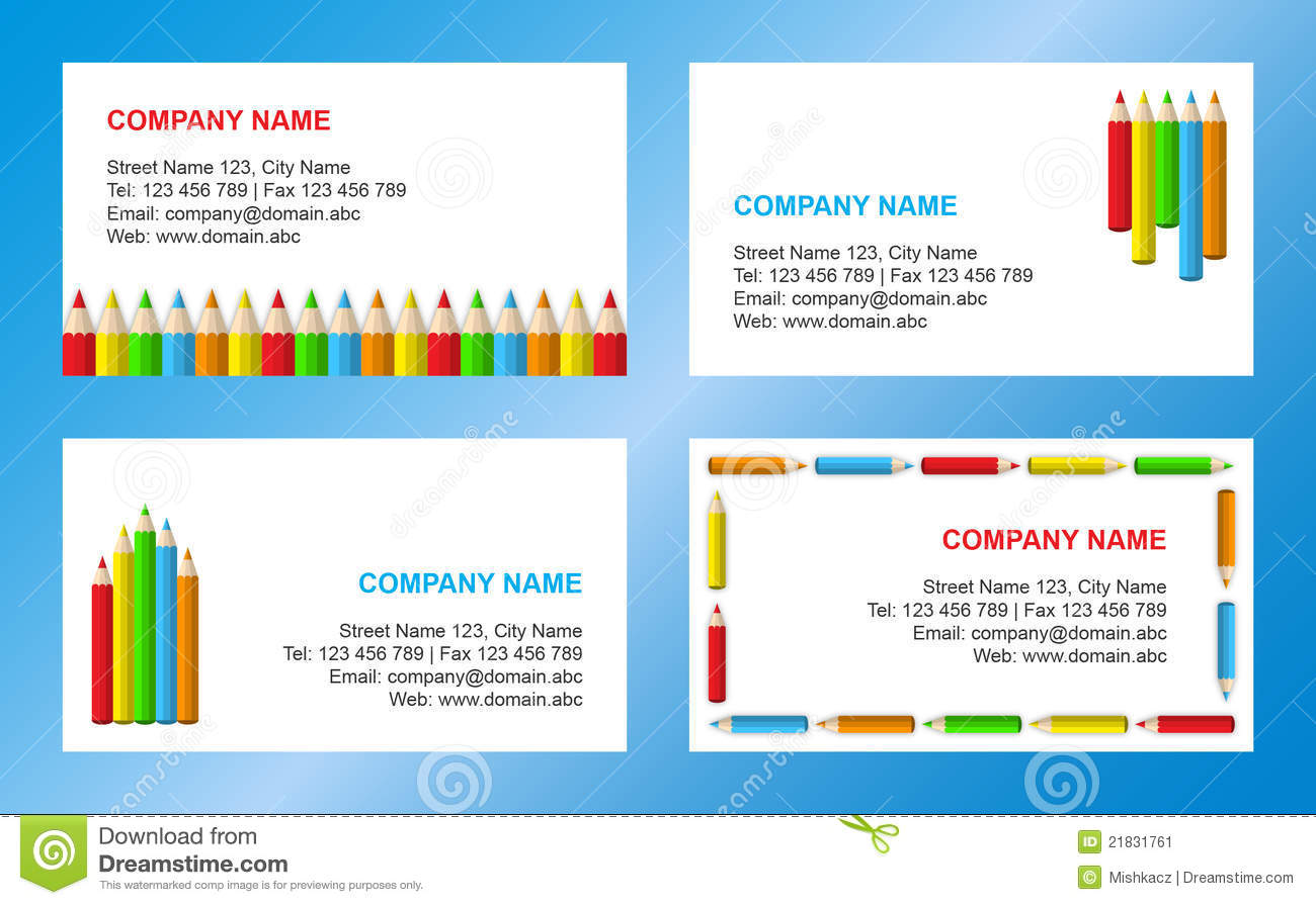 Crayons Business Card Template Stock Vector Illustration Of - Teacher business cards templates free