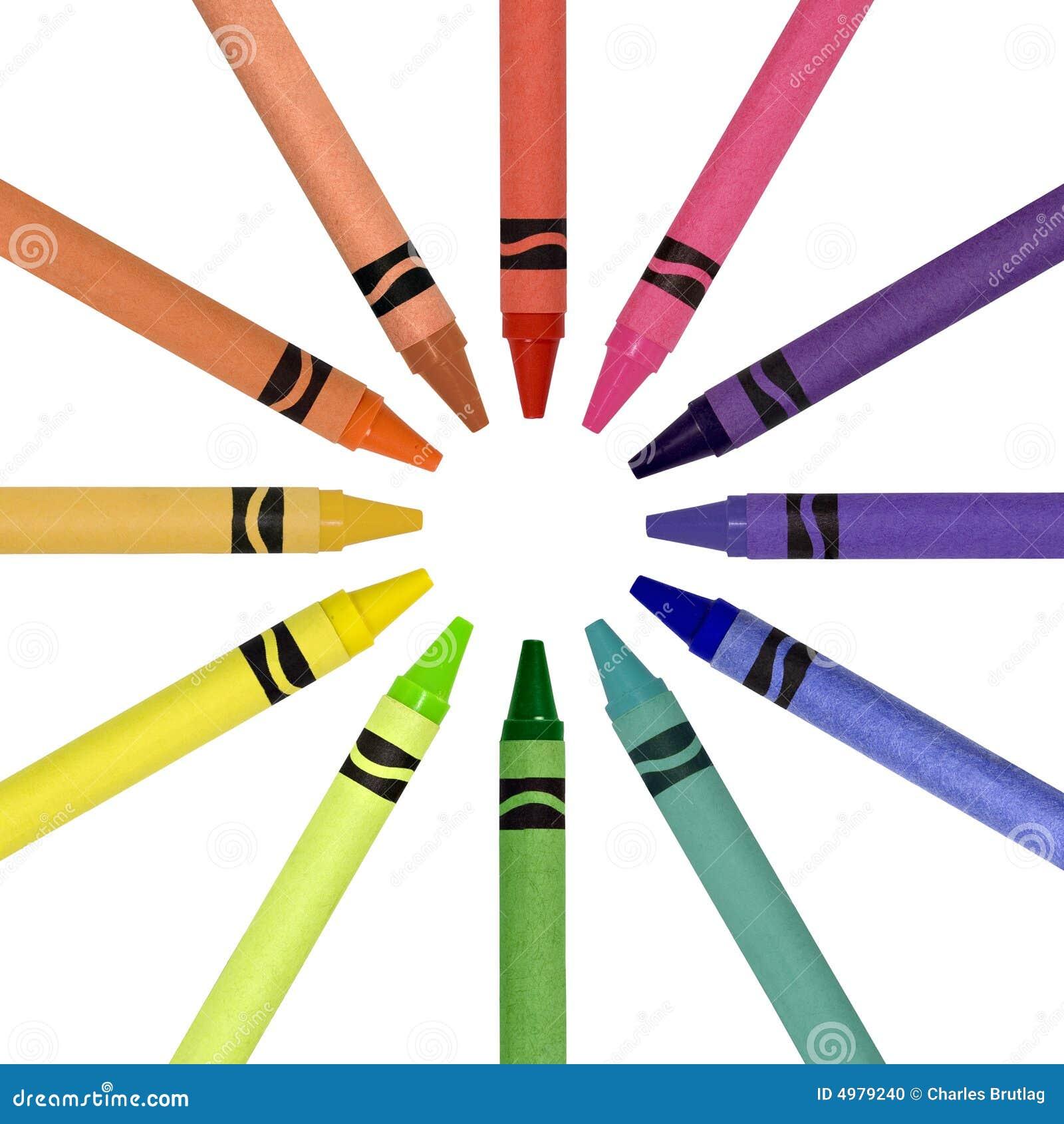 Crayon Colored Circle : Crayons in a circle stock photo image of supplies