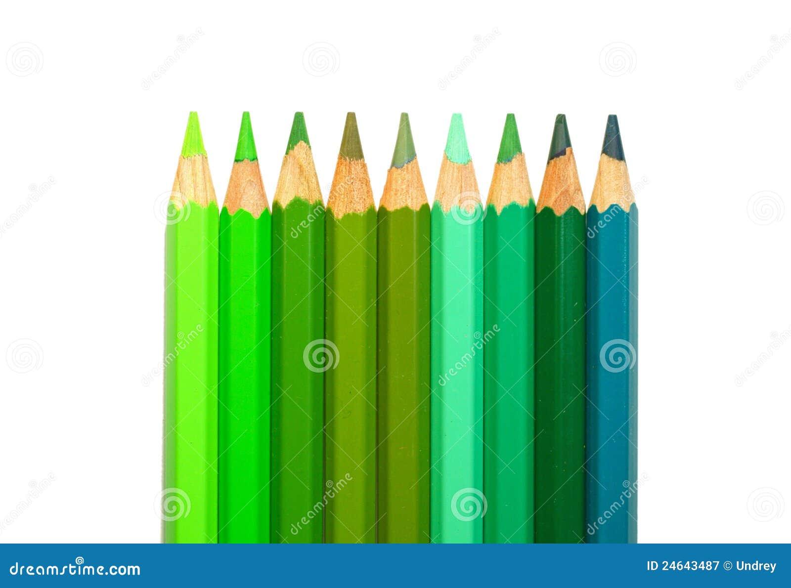 Crayons De Couleur Verte Photographie Stock Libre De