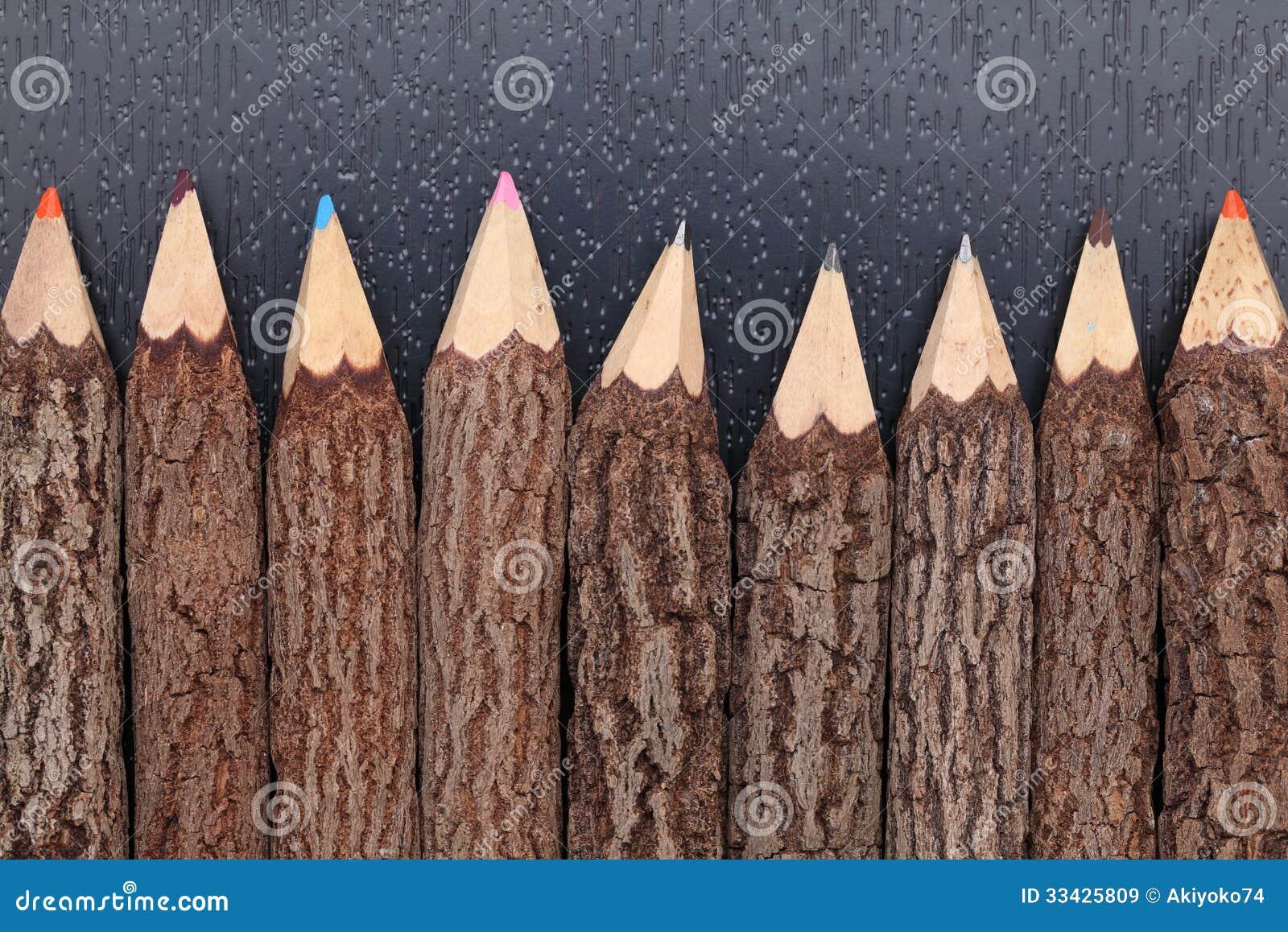 crayons de tronc d 39 arbre image stock image du objet 33425809. Black Bedroom Furniture Sets. Home Design Ideas
