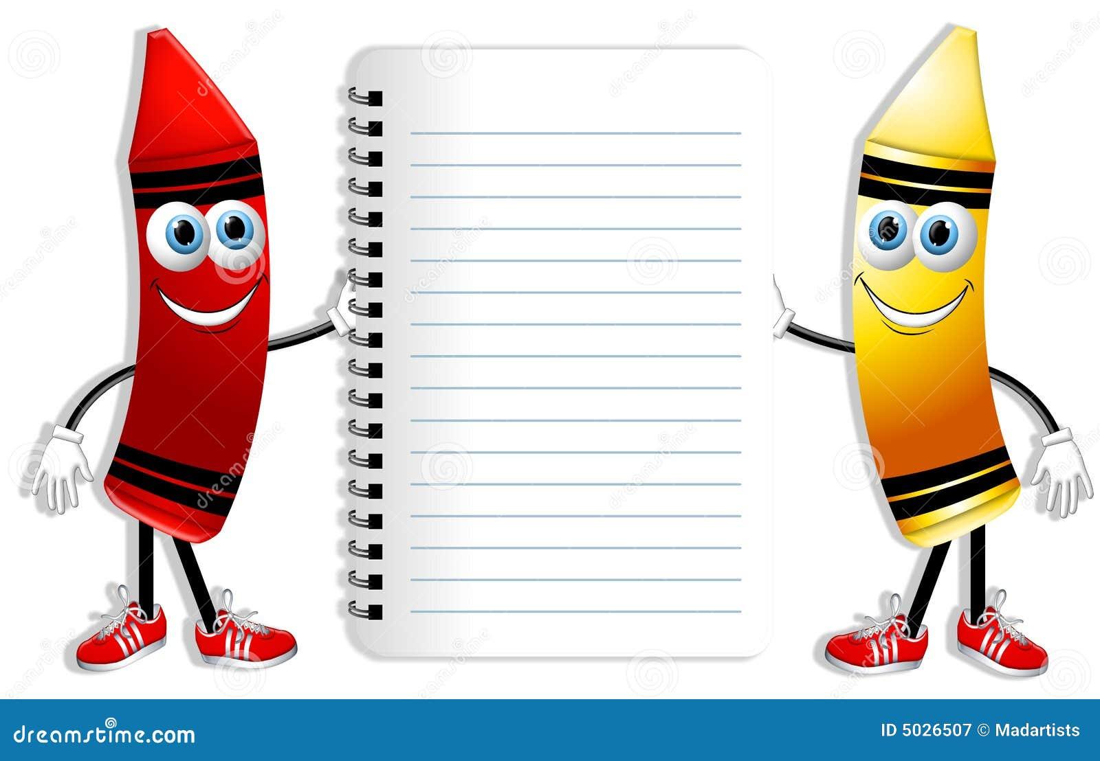 Crayons et cahier de dessin anim photographie stock libre de droits image 5026507 - Dessin anime de corneil et bernie ...