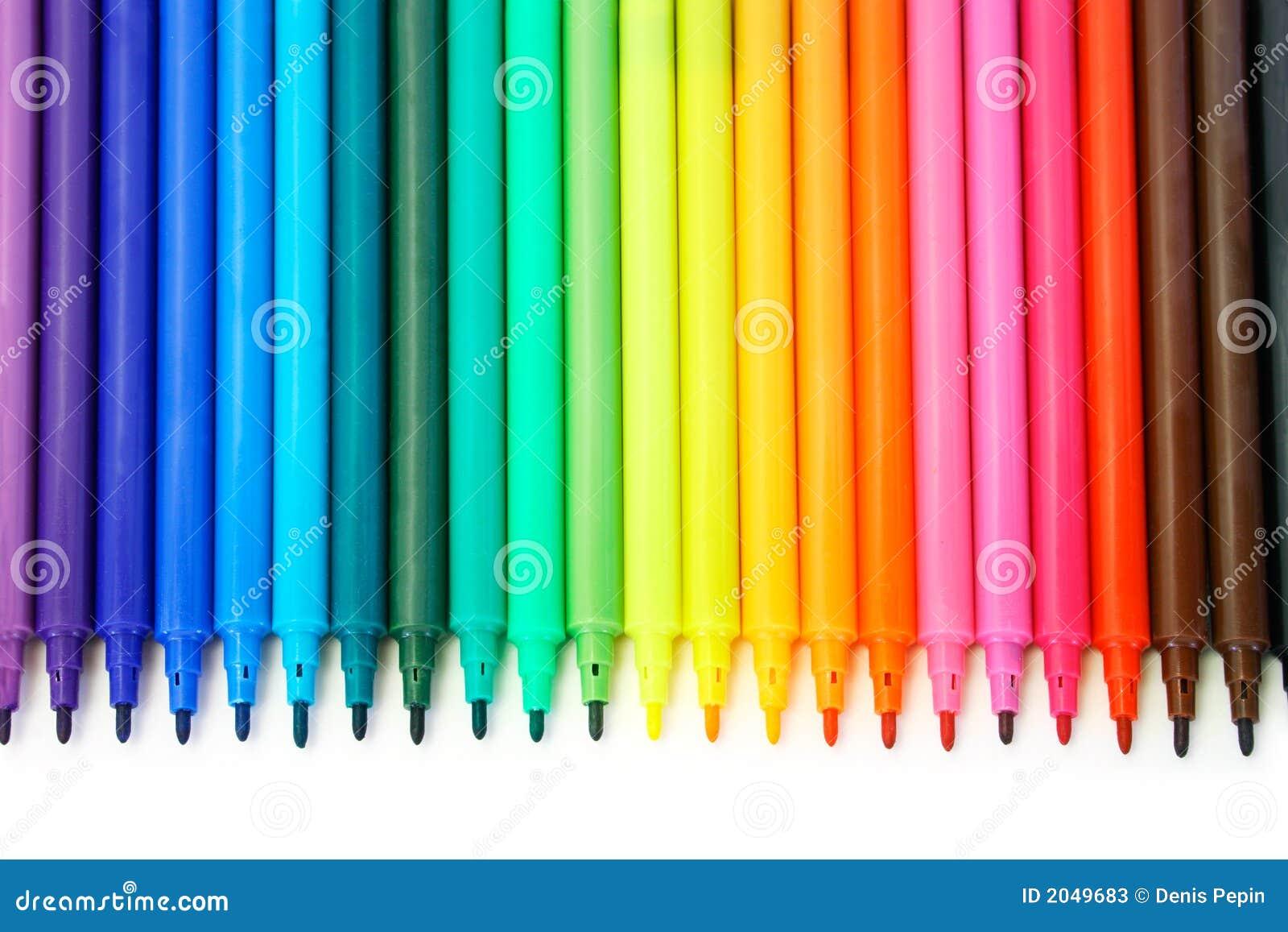 crayons lecteurs feutres multicolores photos stock image. Black Bedroom Furniture Sets. Home Design Ideas