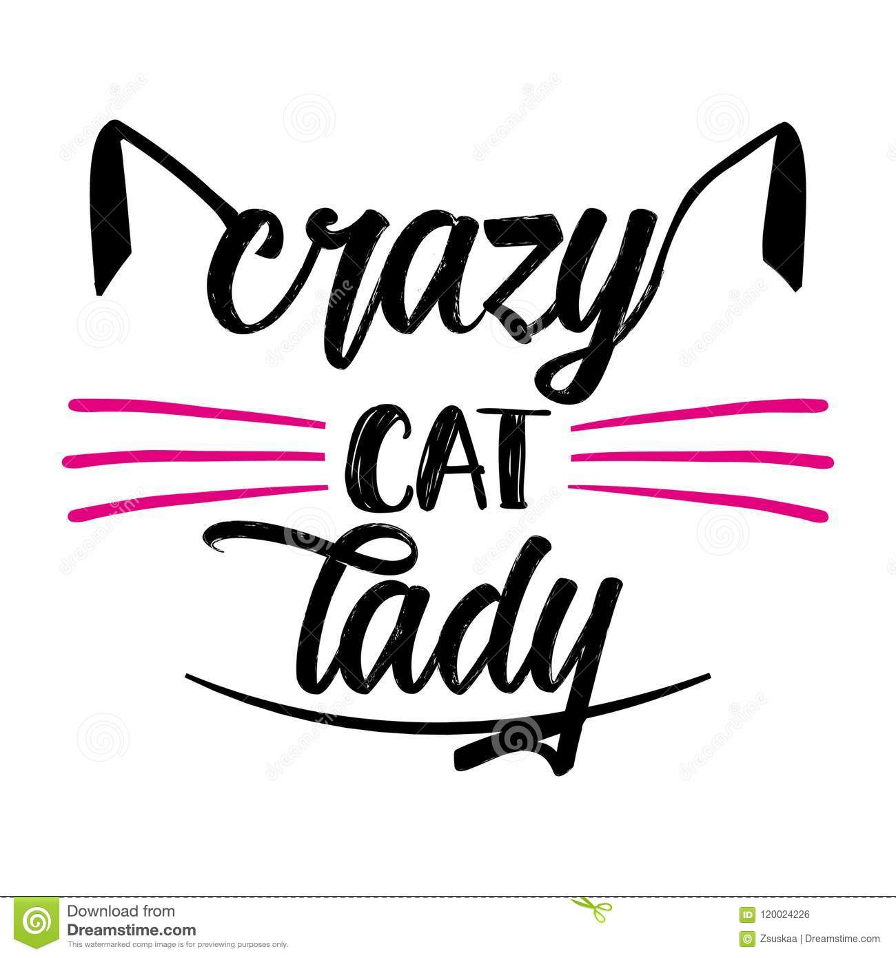 crazy cat lady funny quote design stock vector illustration