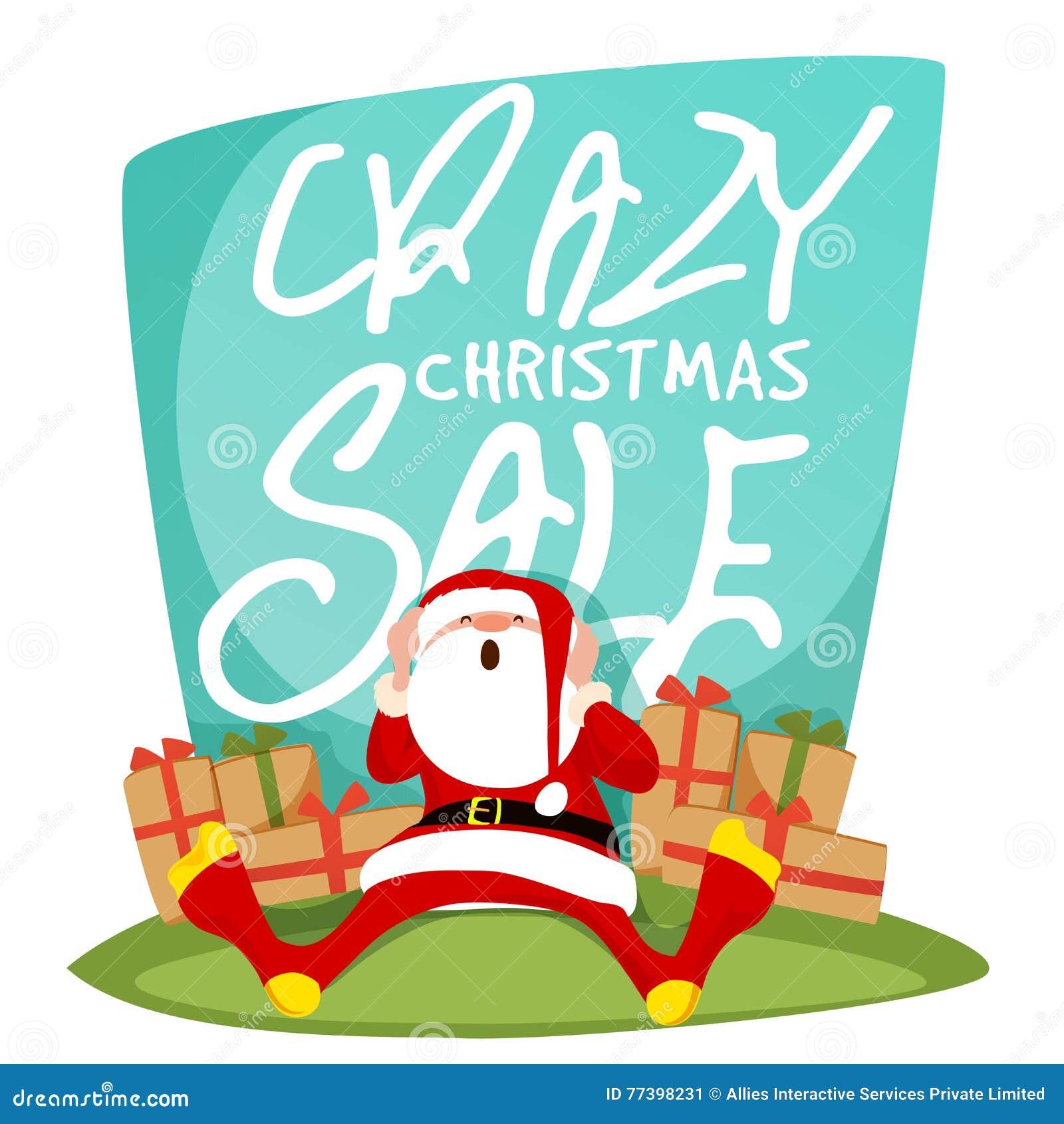 Crazy Christmas Sale Poster, Banner Or Flyer. Stock Illustration ...