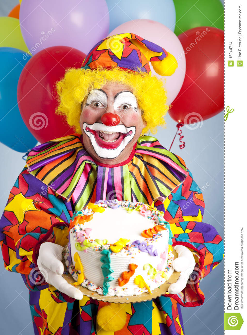 Crazy Clown With Birthday Cake Stock Photo Image Of