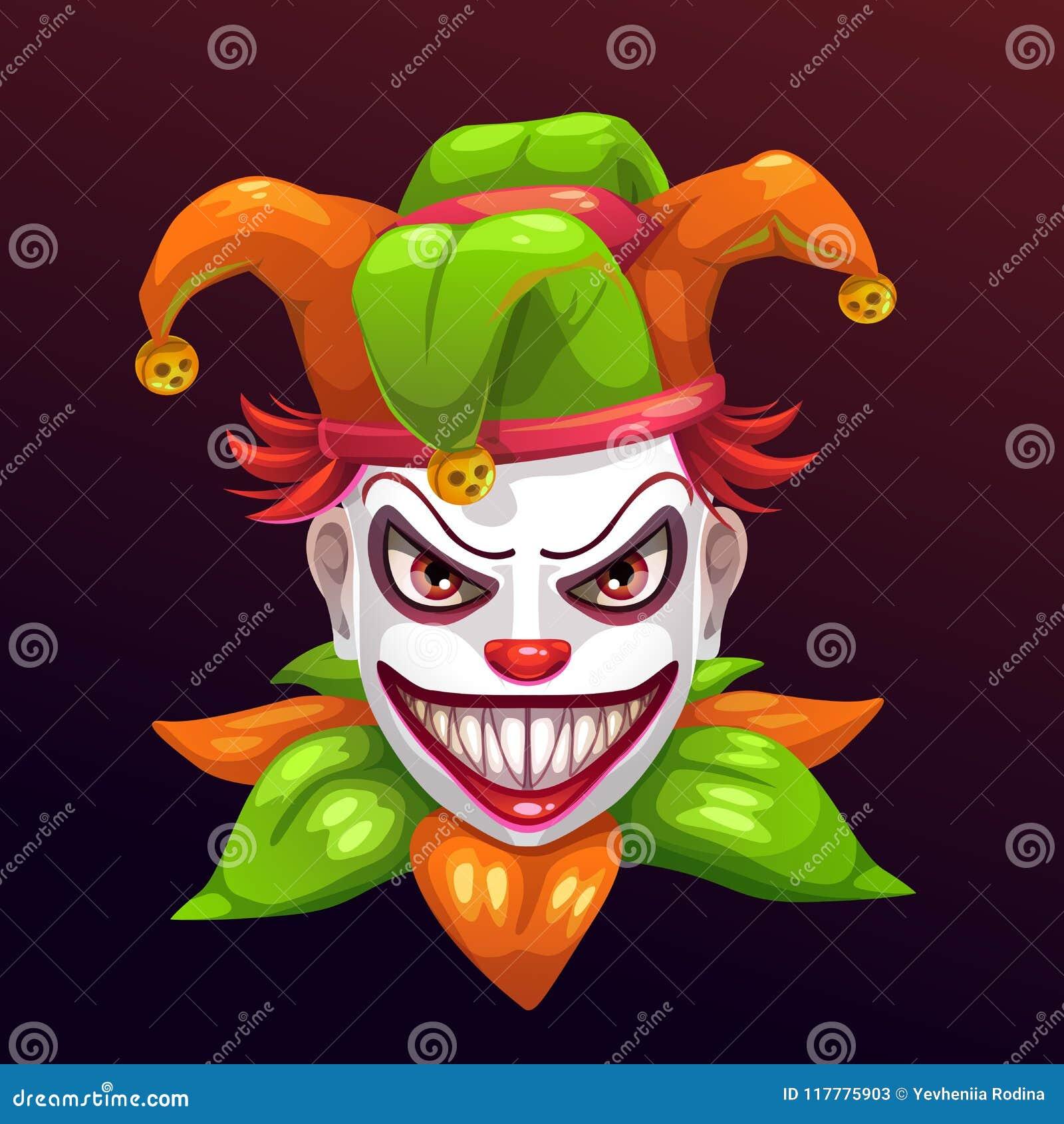 Crazy Creepy Joker Face Stock Vector Illustration Of Devil