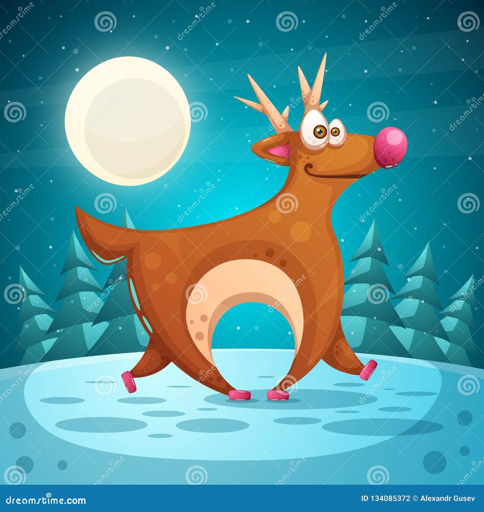 Crazy deer. Cartoon winter landscape.