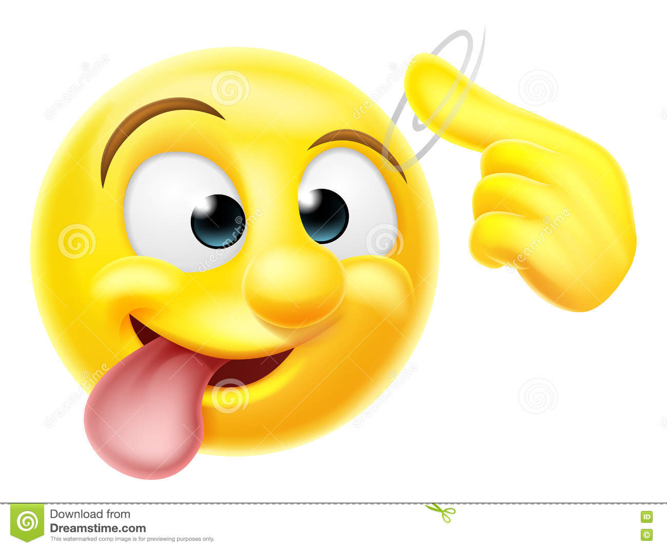 A happy emoji emoticon smiley face character pointing at his or her head making a loose gesture