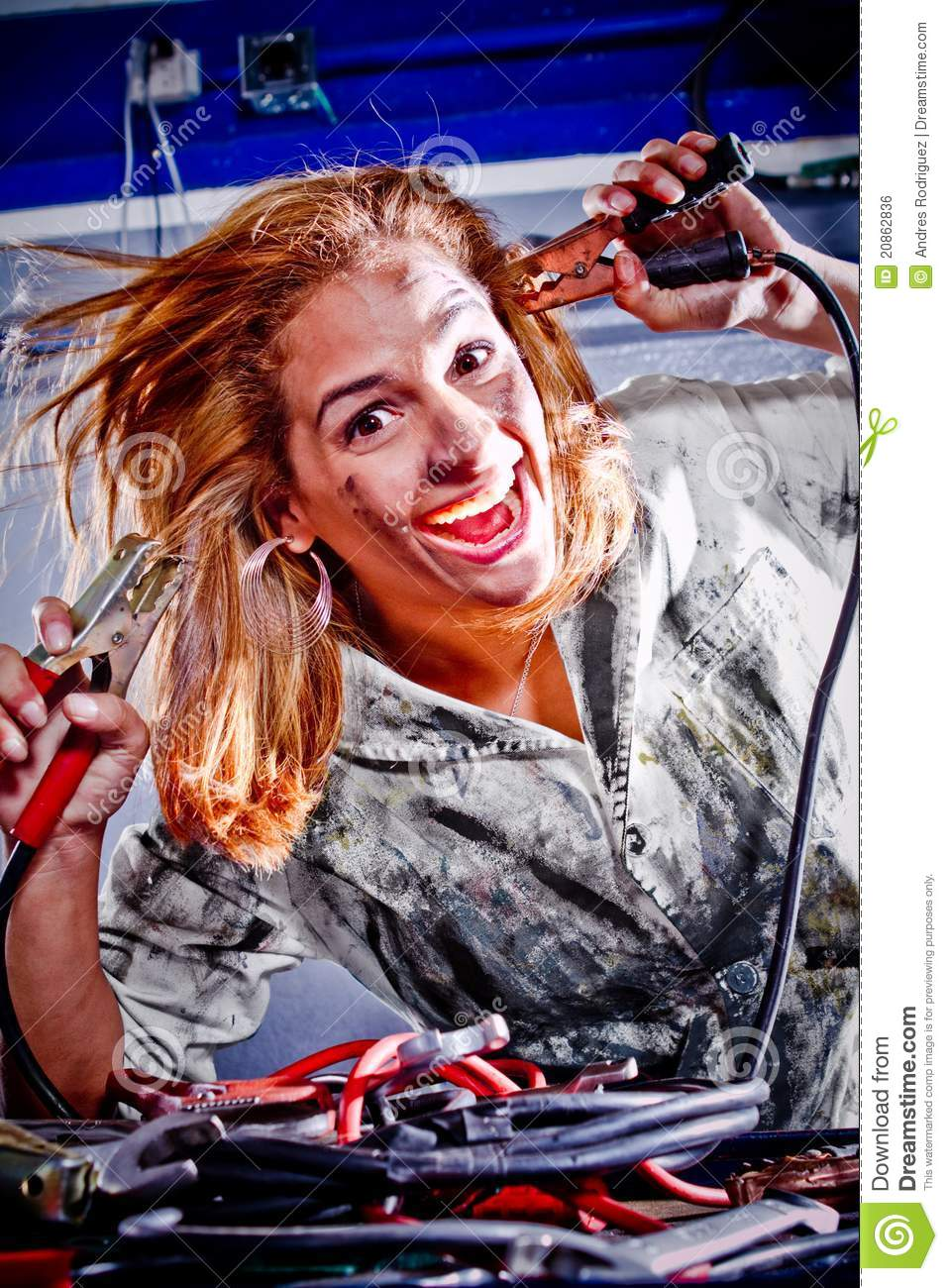 crazy female mechanic stock photo  image of engineering