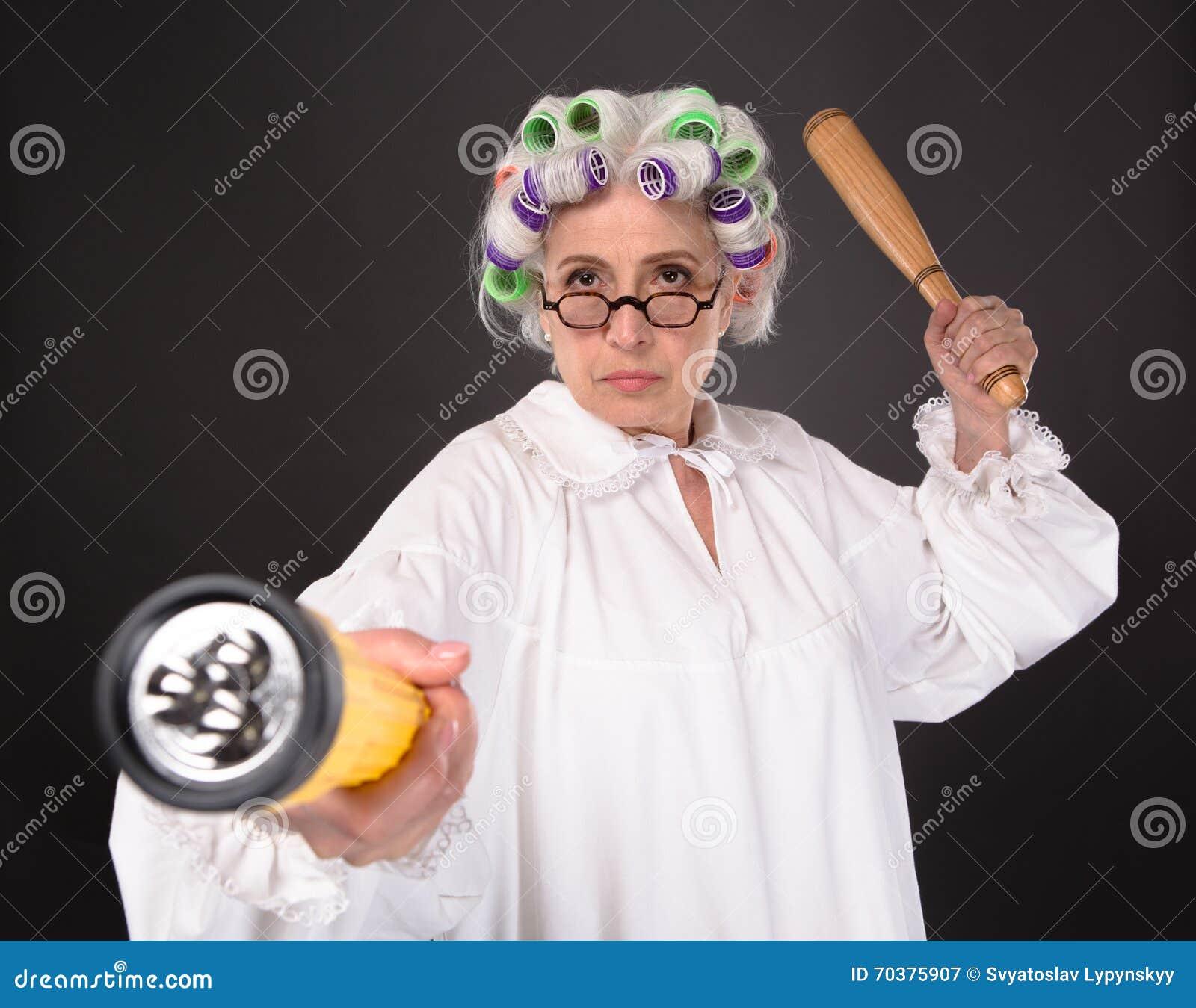 Crazy furious grandmother