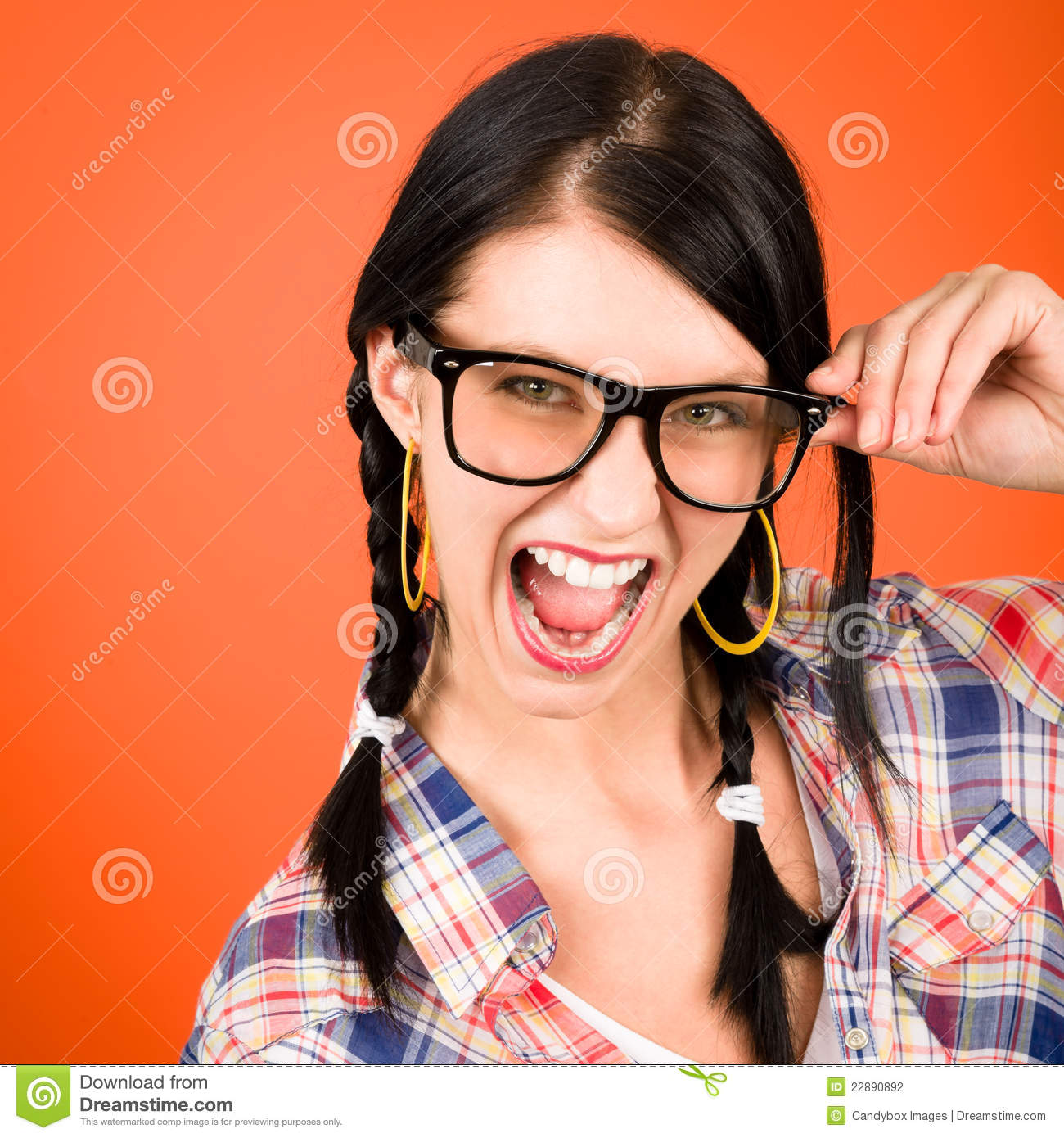 Download Crazy Girl Wear Nerd Glasses Shouting Stock Photo - Image of make, gazing: 22890892