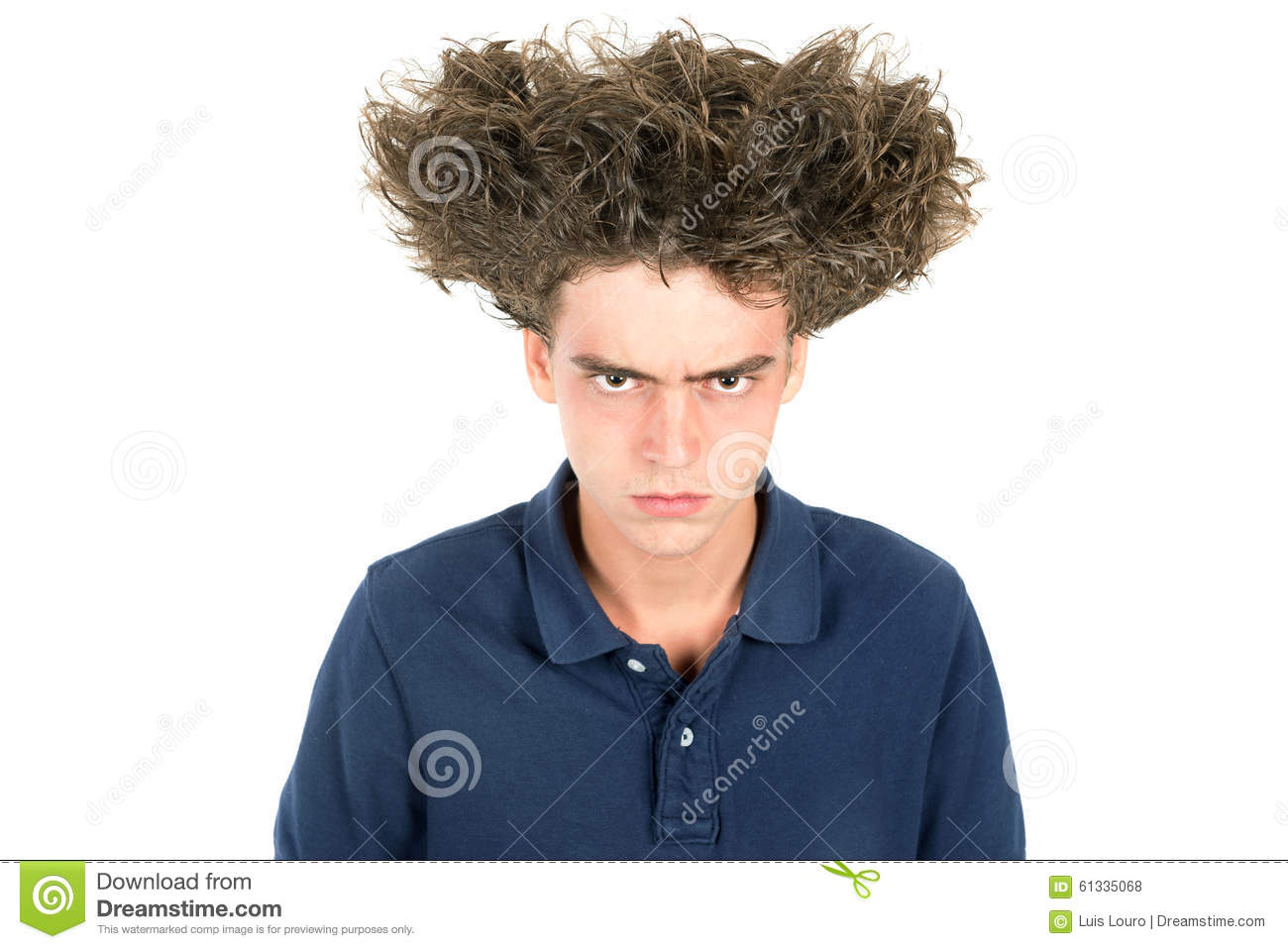 Crazy Hair Boy Stock Photo Image 61335068