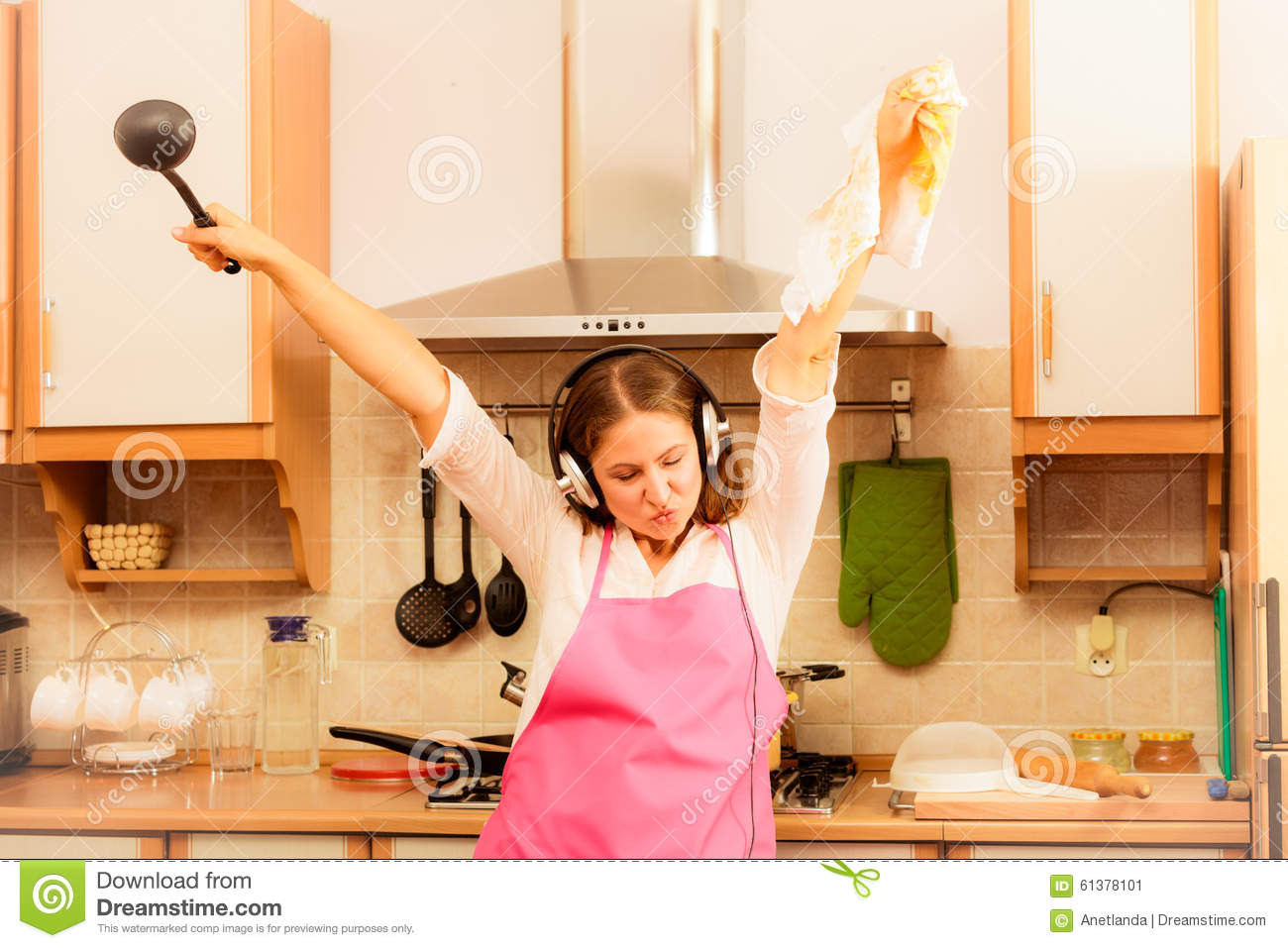 Royalty Free Stock Photo. Download Crazy Housewife Cook In Kitchen ...