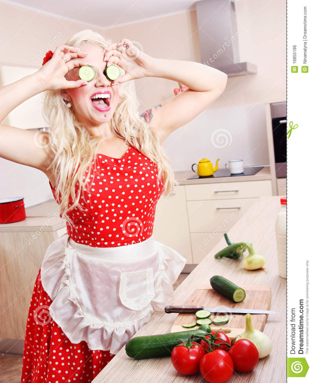 Download Crazy Housewife In The Kitchen Stock Photo - Image of blonde, knife: 16855186