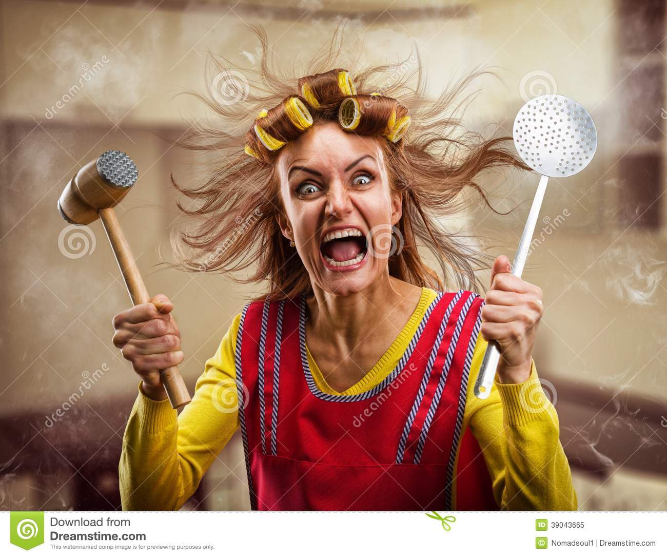 Awesome Royalty Free Stock Photo. Download Crazy Housewife With Kitchen ...